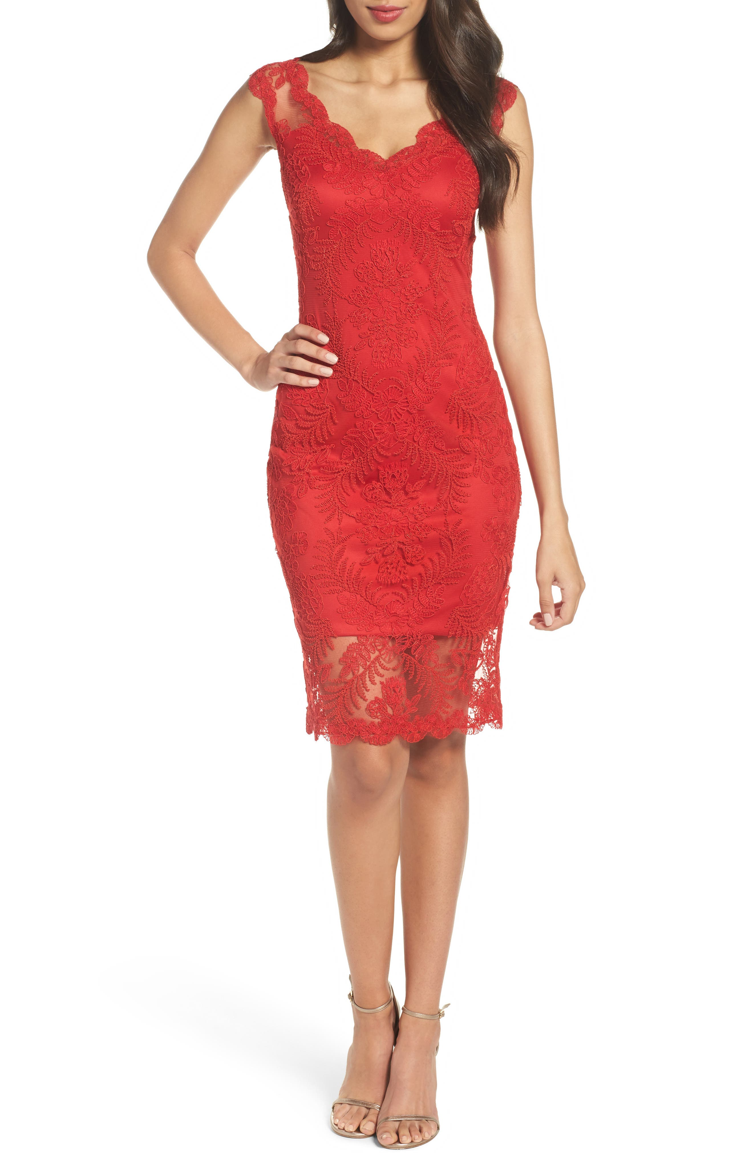Corded Tulle Sheath Dress,                         Main,                         color, Deep Red