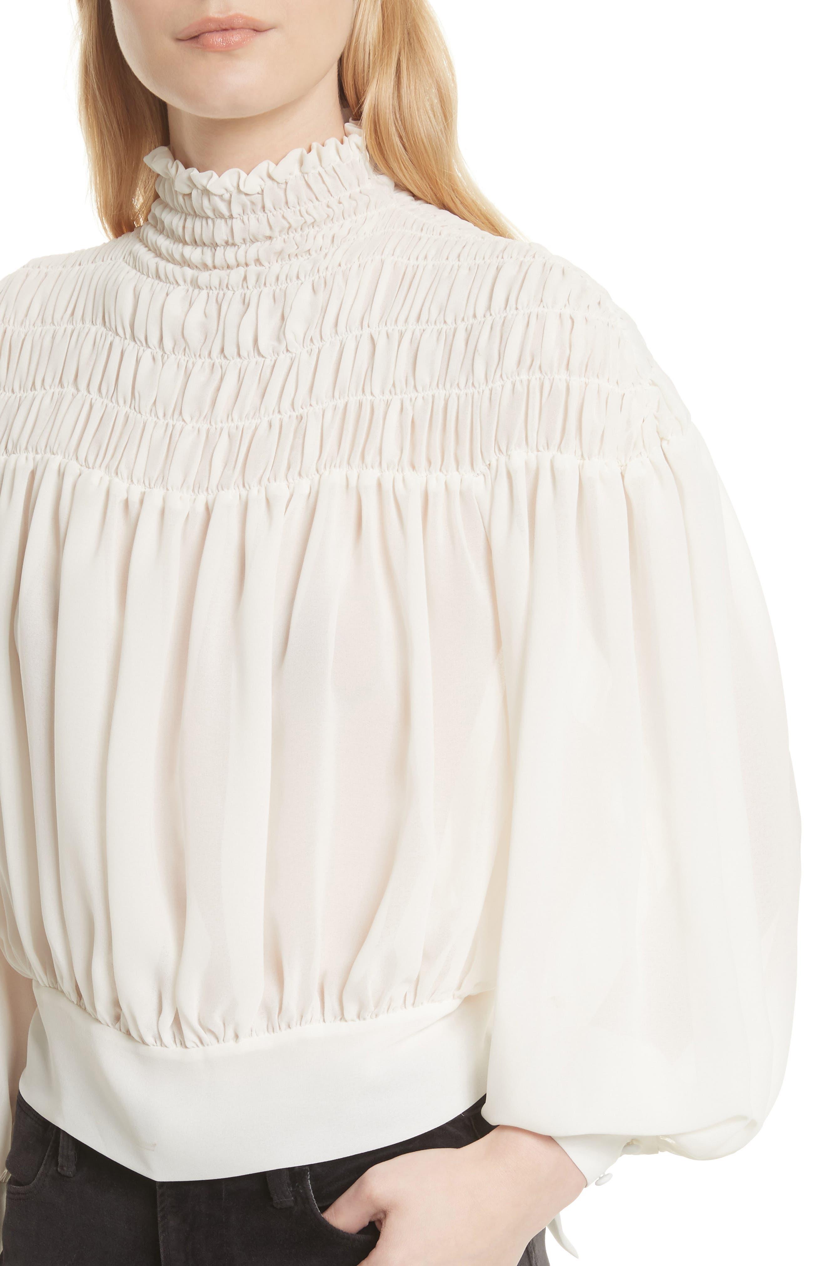 Smocked Tie Back Blouse,                             Alternate thumbnail 5, color,                             Off White