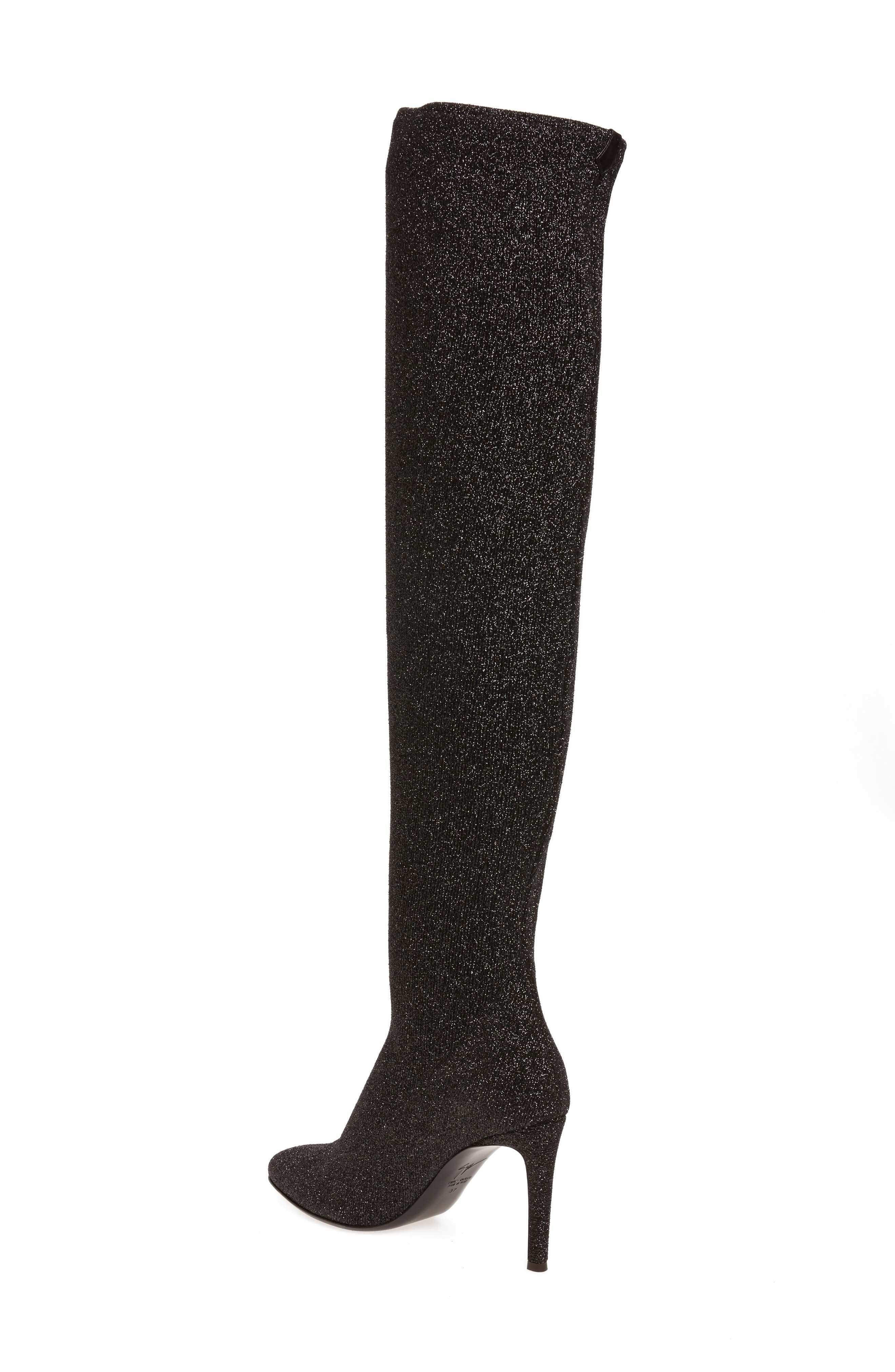 Glitter Stretch Over the Knee Boot,                             Alternate thumbnail 2, color,                             Black