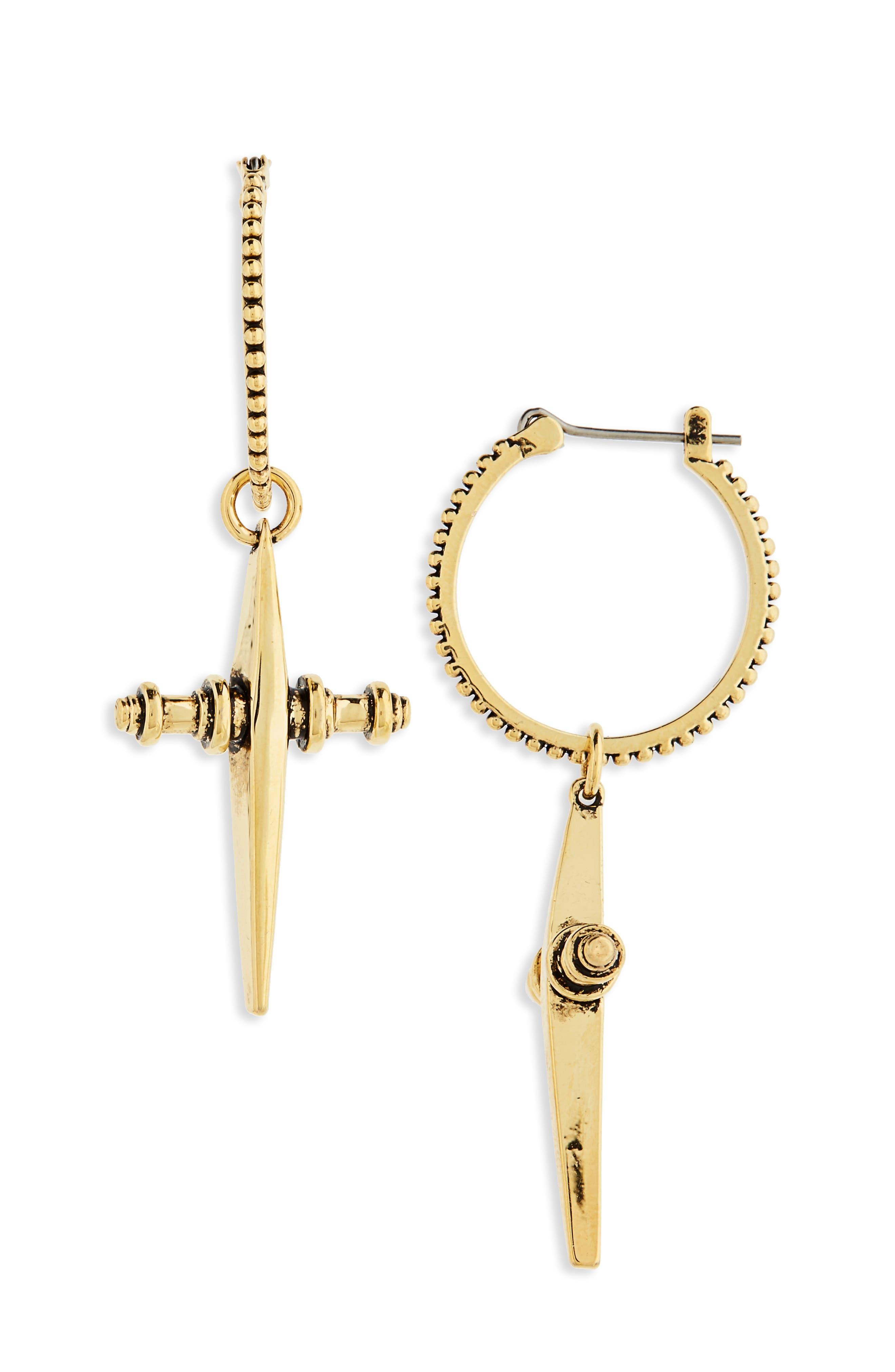 LUV AJ Cross Hoop Earrings