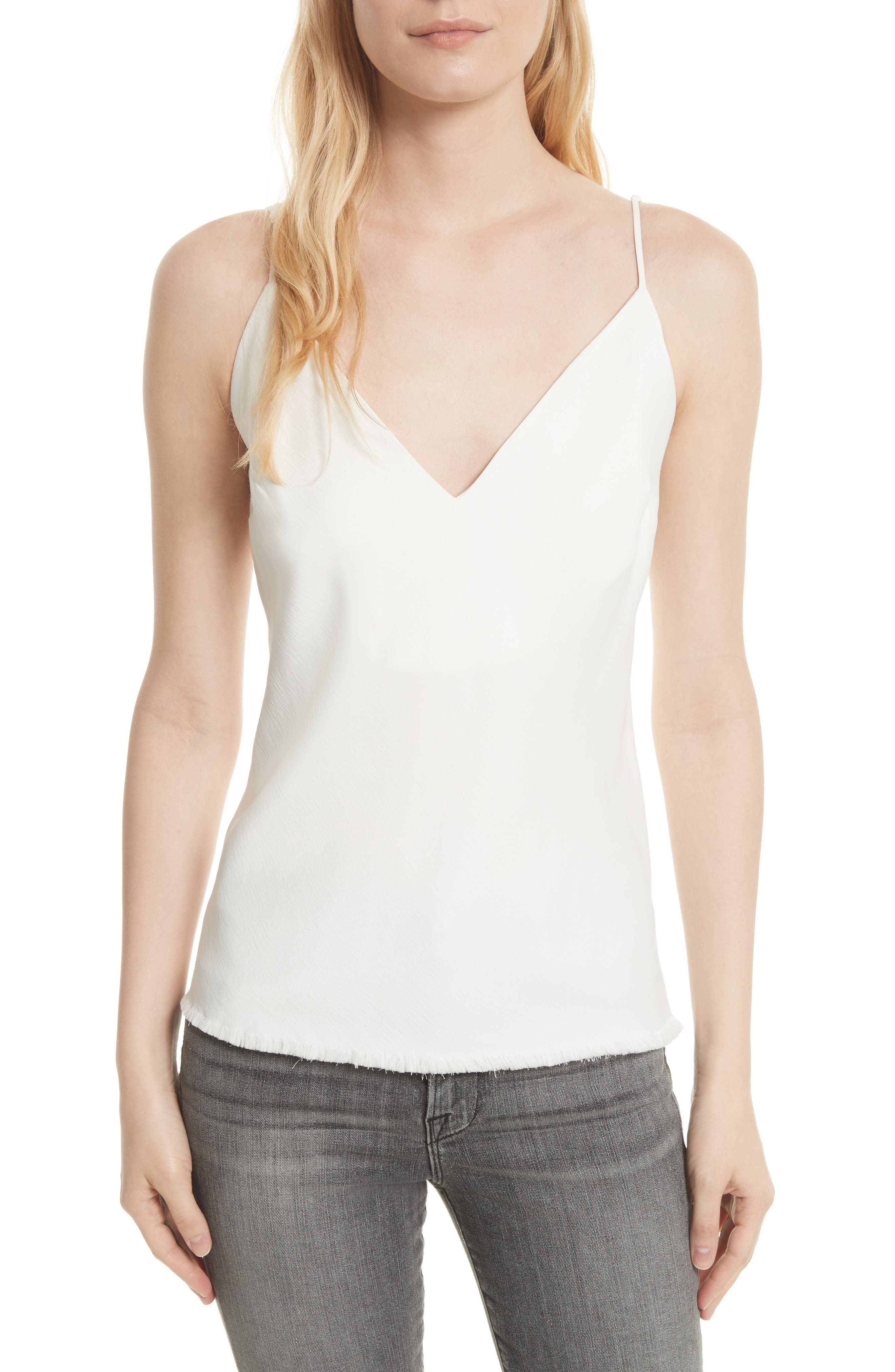 Satin Bias Tank,                         Main,                         color, Off White
