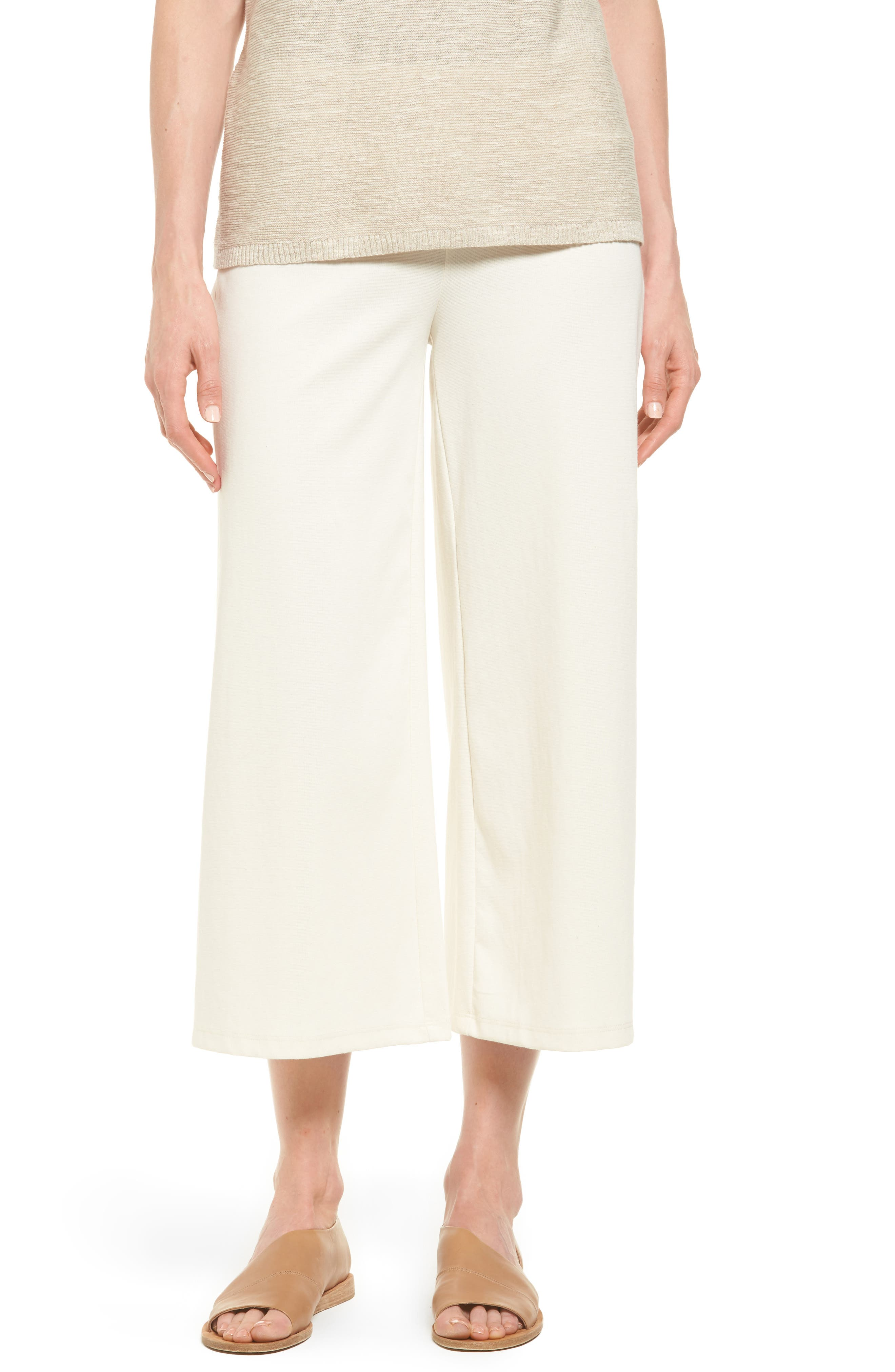 Eileen Fisher Knit Wide Leg Crop Pants (Regular & Petite)