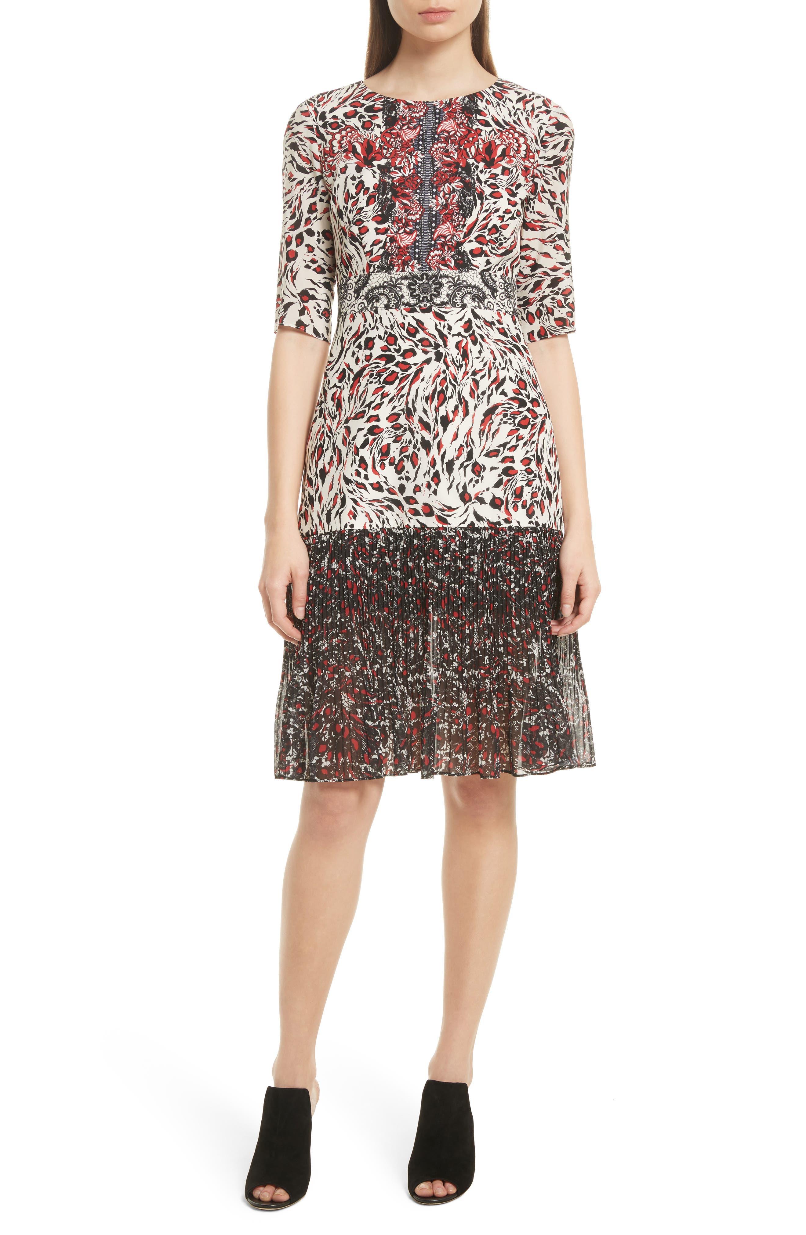 Vera Print Silk Dress,                         Main,                         color, Lace Leopard
