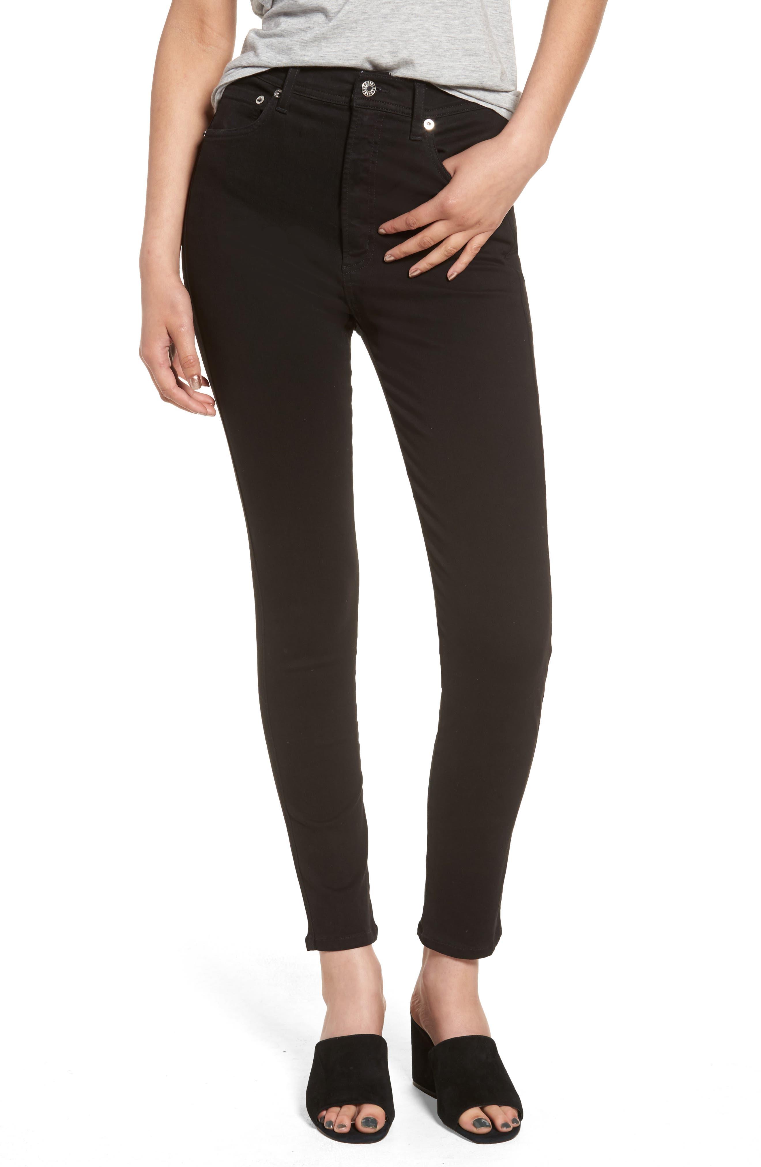 Main Image - AGOLDE Roxanne Super High Rise Skinny Jeans (Jet)