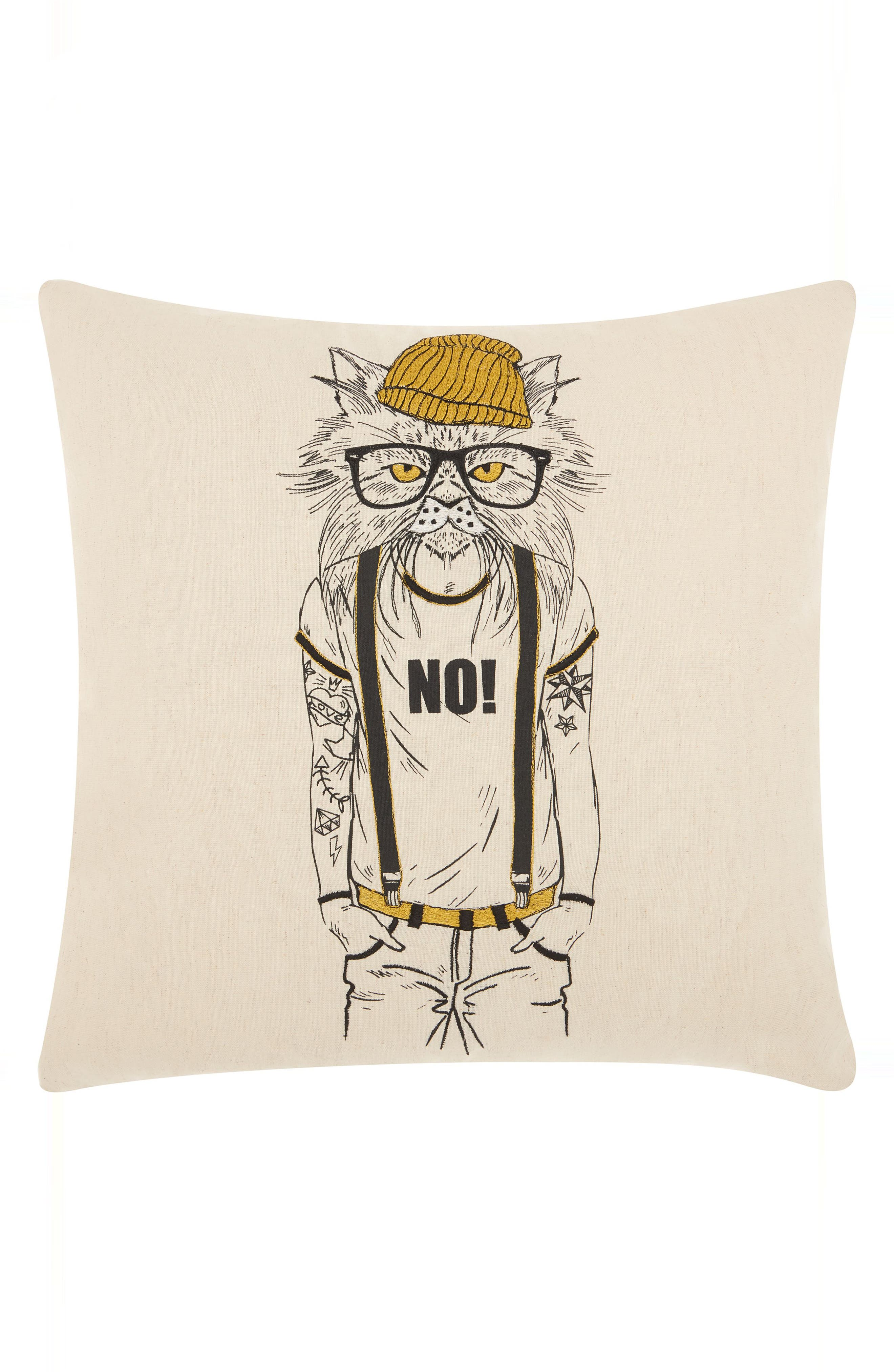 Tattooed Cat Accent Pillow,                             Main thumbnail 1, color,                             Natural