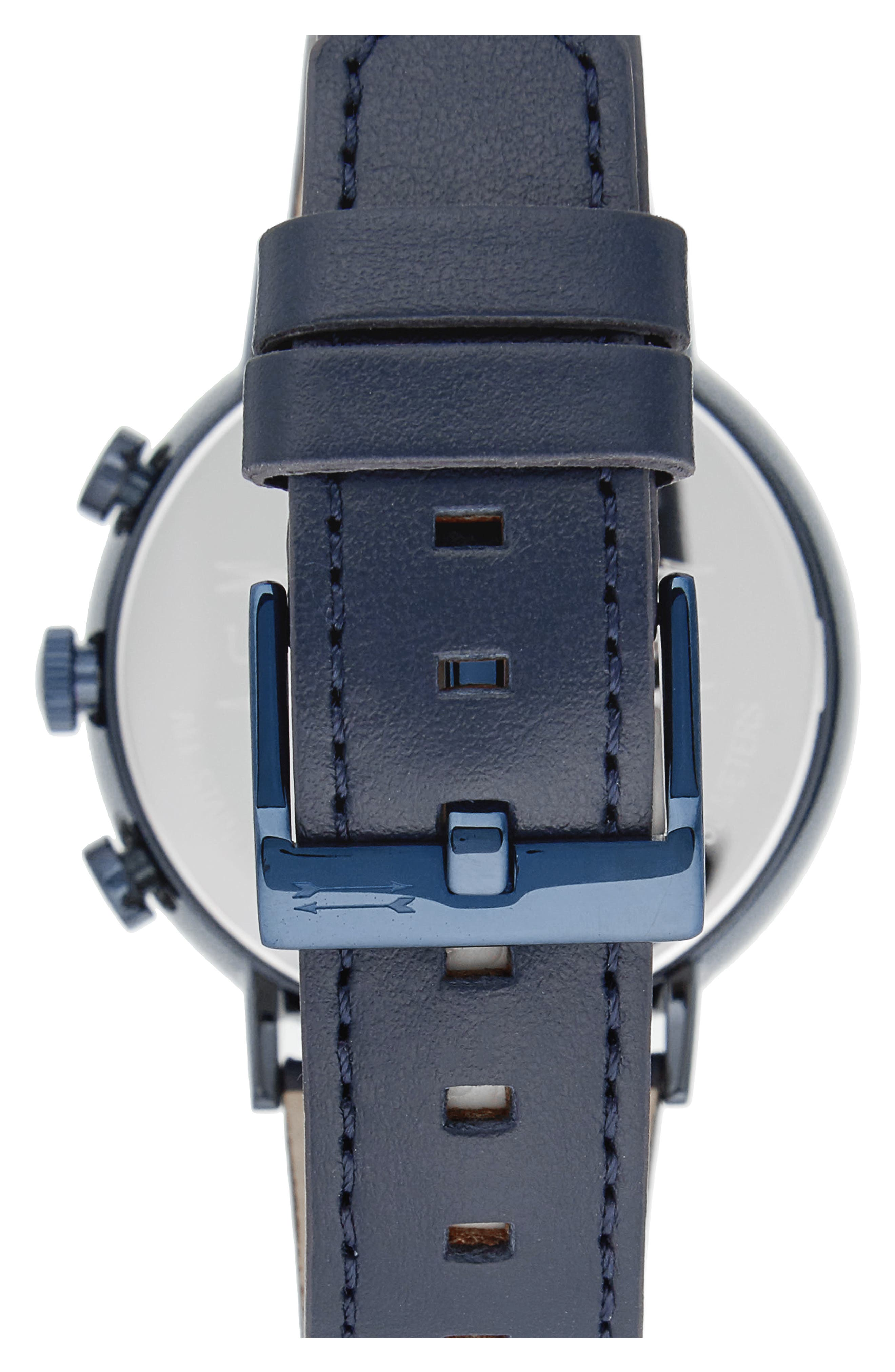 Griffith Leather Strap Watch, 43mm,                             Alternate thumbnail 2, color,                             Blue