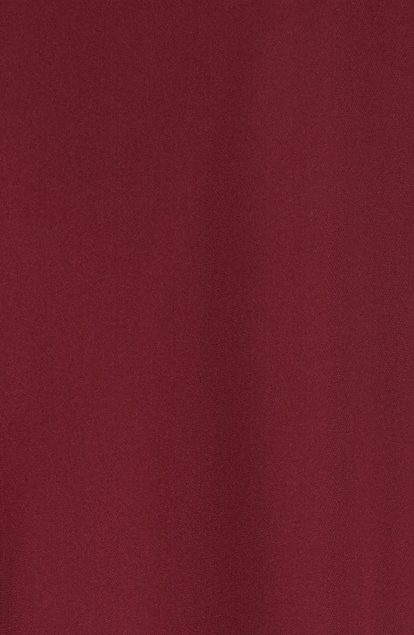 Badgley Mischka Couture Embellished Cuff Silk Caftan,                             Alternate thumbnail 6, color,                             Burgundy