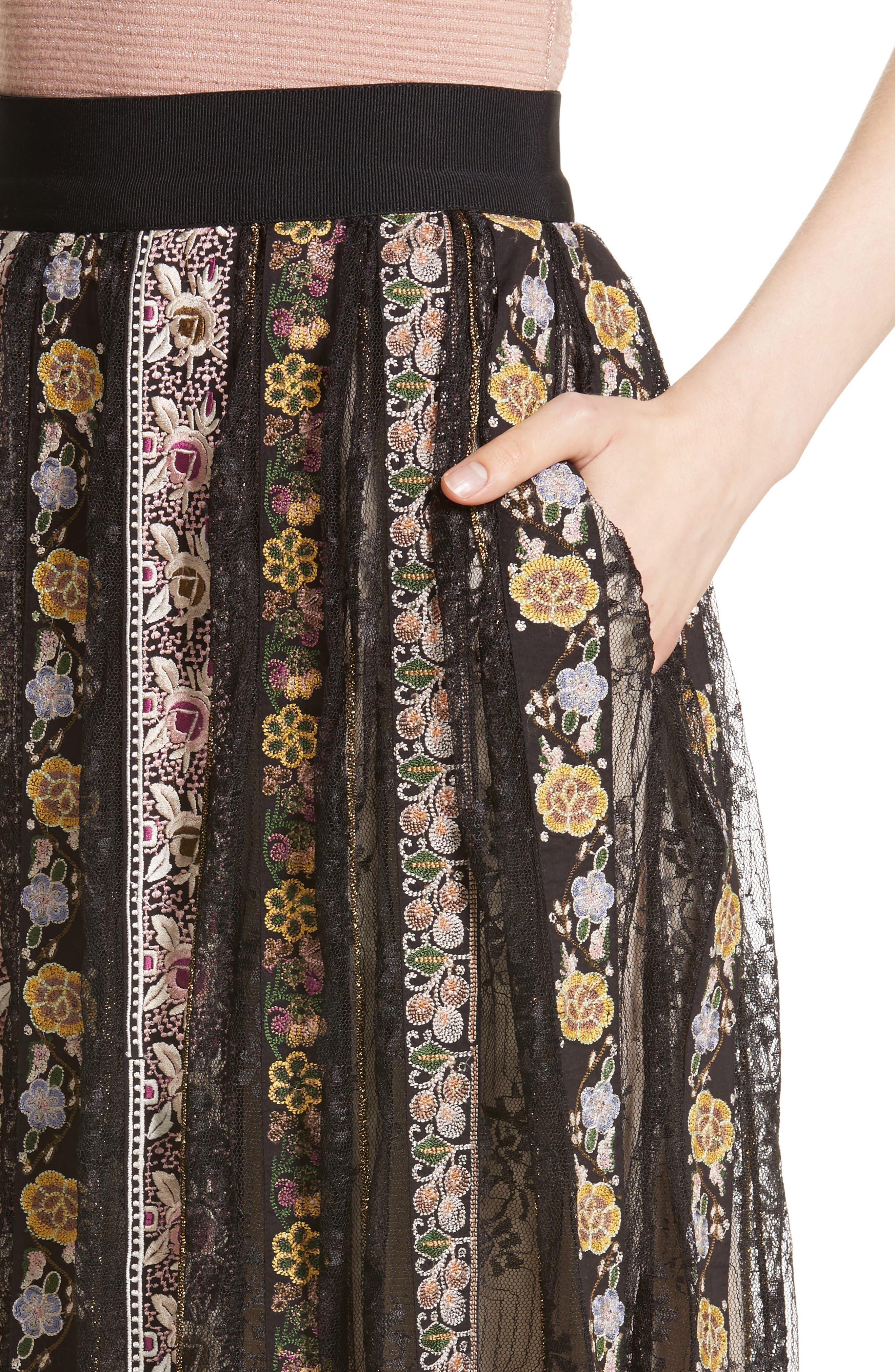 Alternate Image 4  - Alice + Olivia Birdie Flower Embroidered Skirt