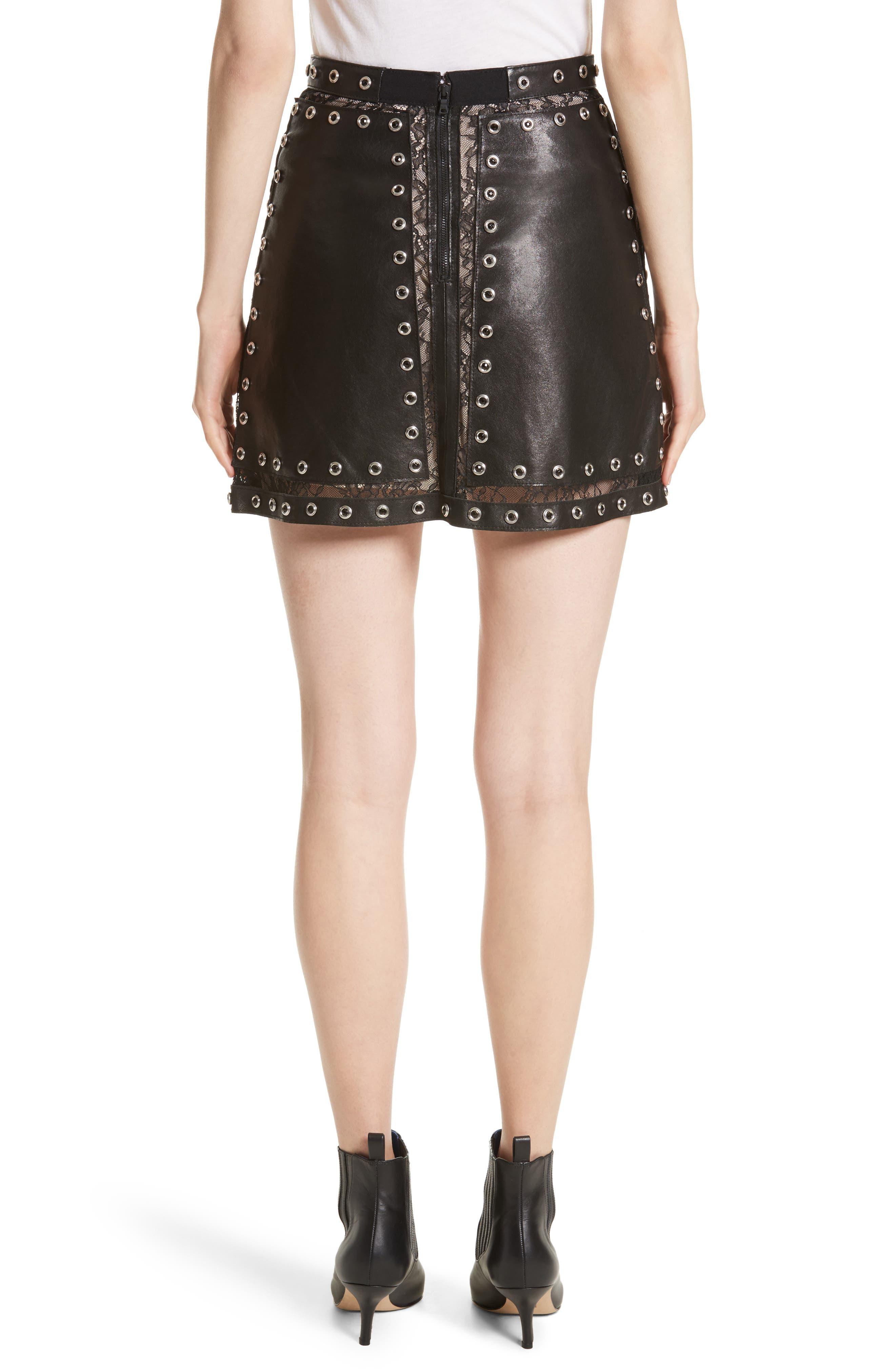 Riley Studded Leather Mini Skirt,                             Alternate thumbnail 2, color,                             Black