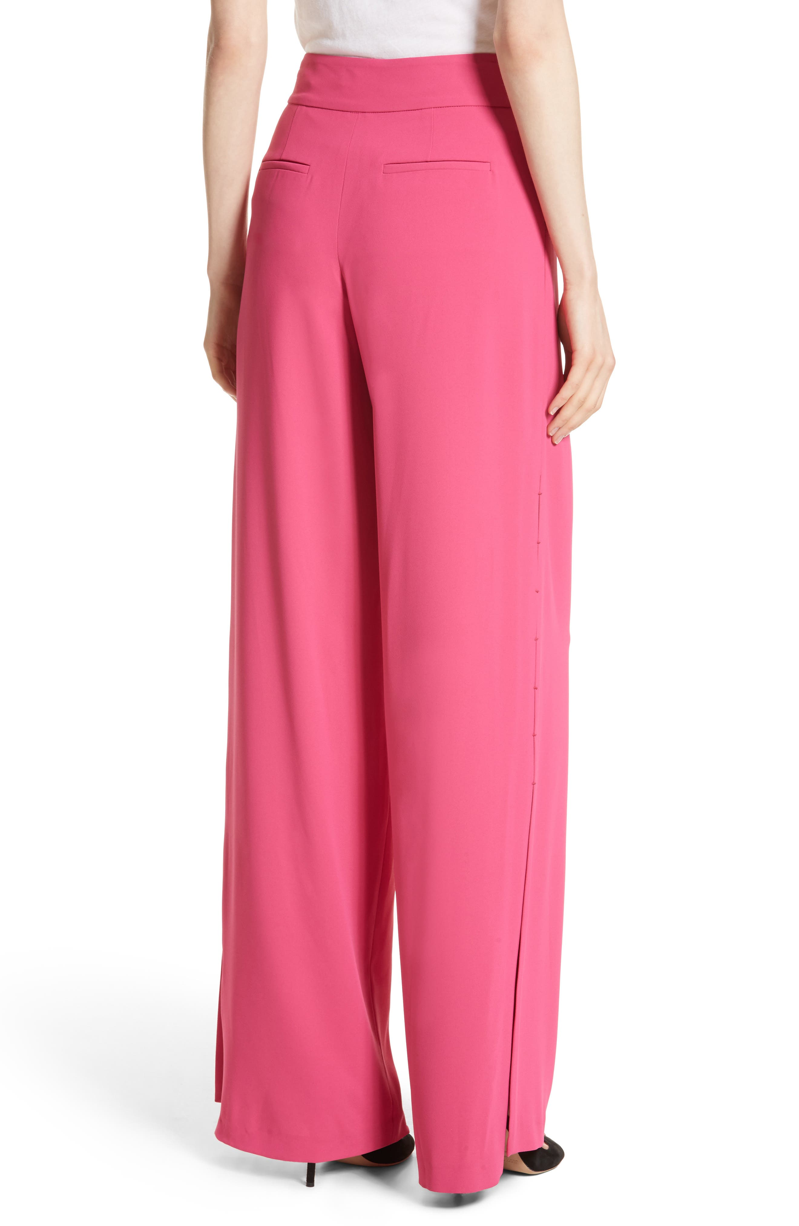 Shavon High Waist Side Slit Flare Pants,                             Alternate thumbnail 2, color,                             Fuchsia