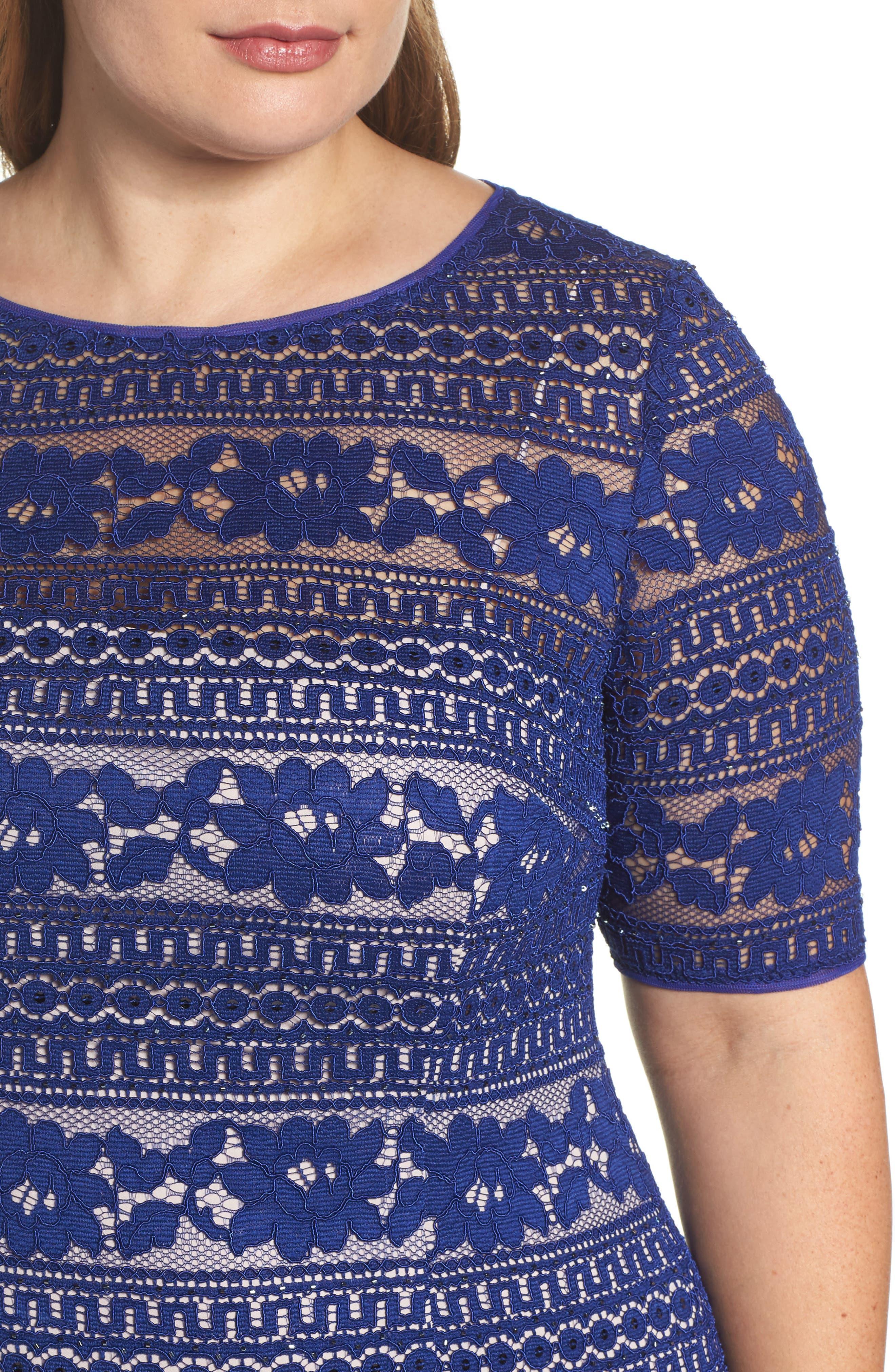 Alternate Image 4  - Adrianna Papell Illusion Sleeve Lace Sheath Dress (Plus Size)