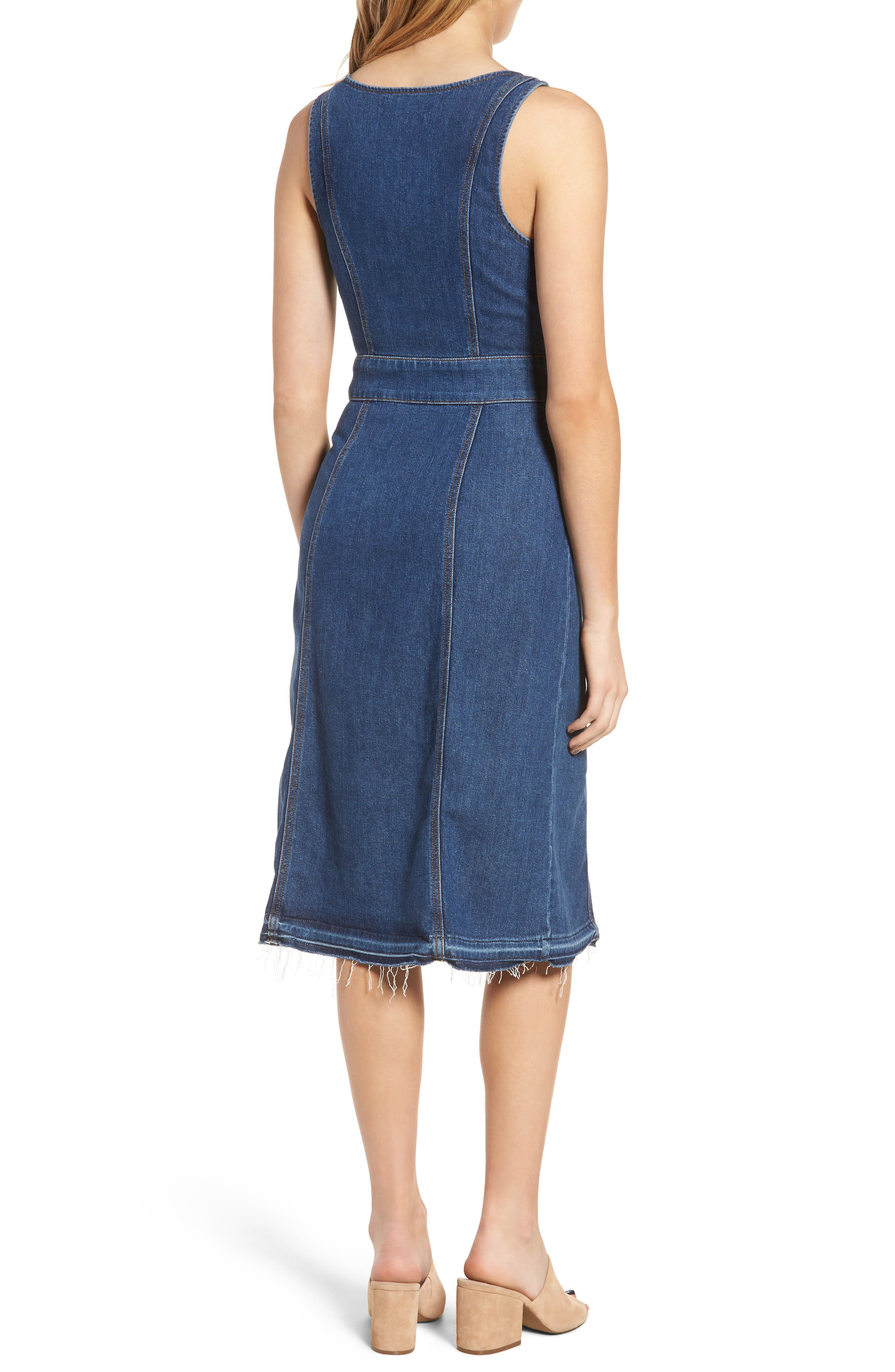 Sleeveless Denim Dress,                             Alternate thumbnail 2, color,                             Sunrise- Lxr4