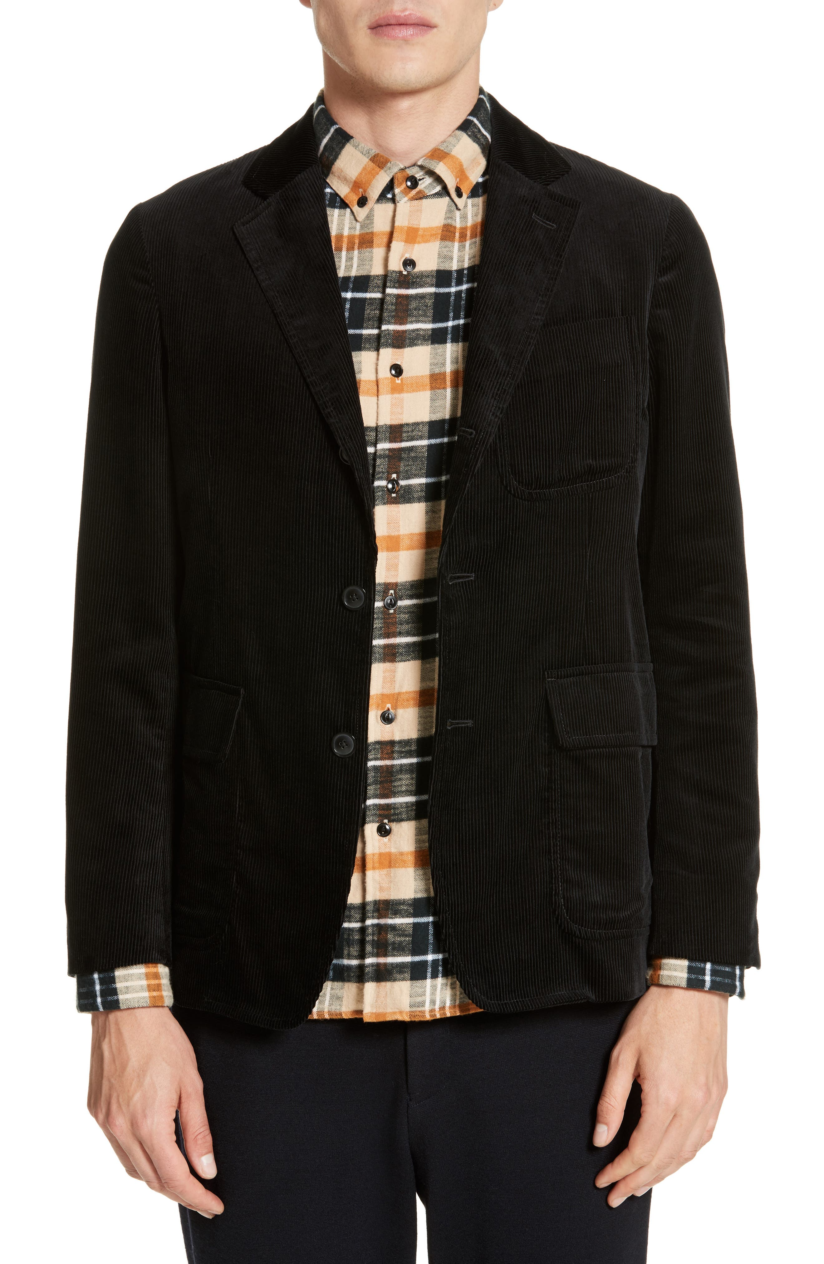 Sea Island Corduroy Jacket,                             Main thumbnail 1, color,                             Black