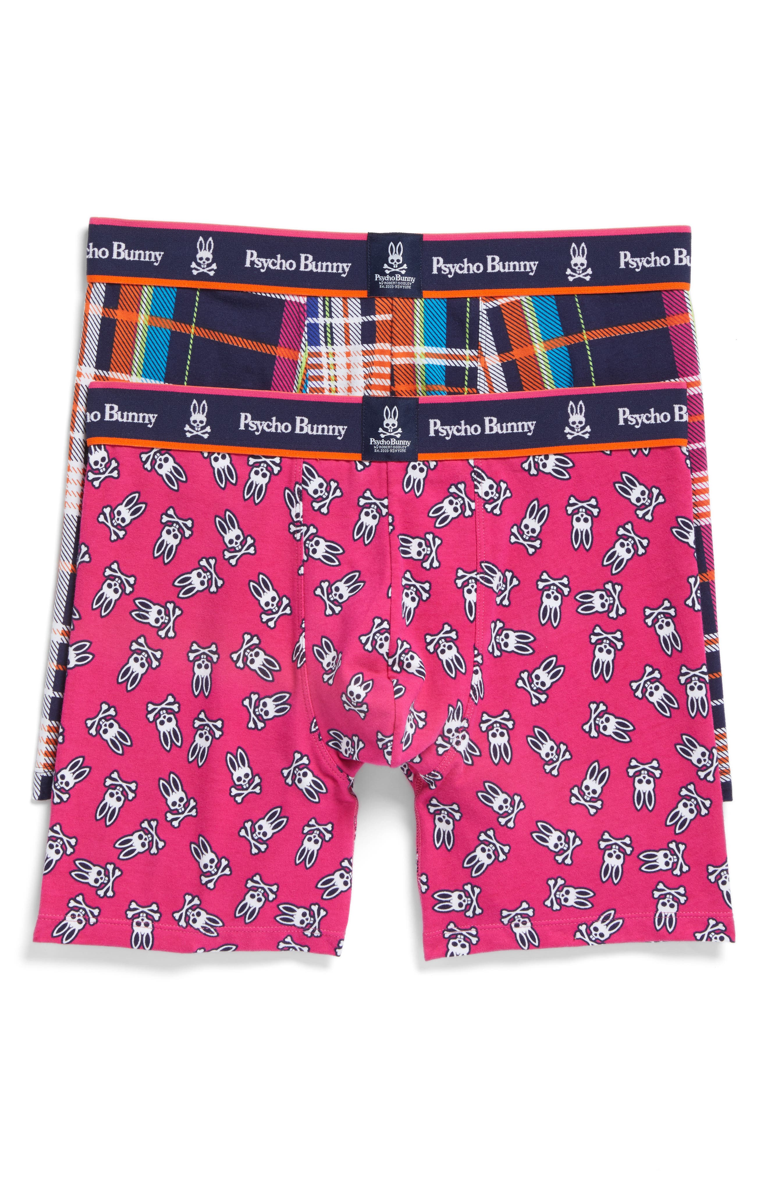 2-Pack Boxer Briefs,                         Main,                         color, Bouy Plaid/ Bouy Tossed Bunny