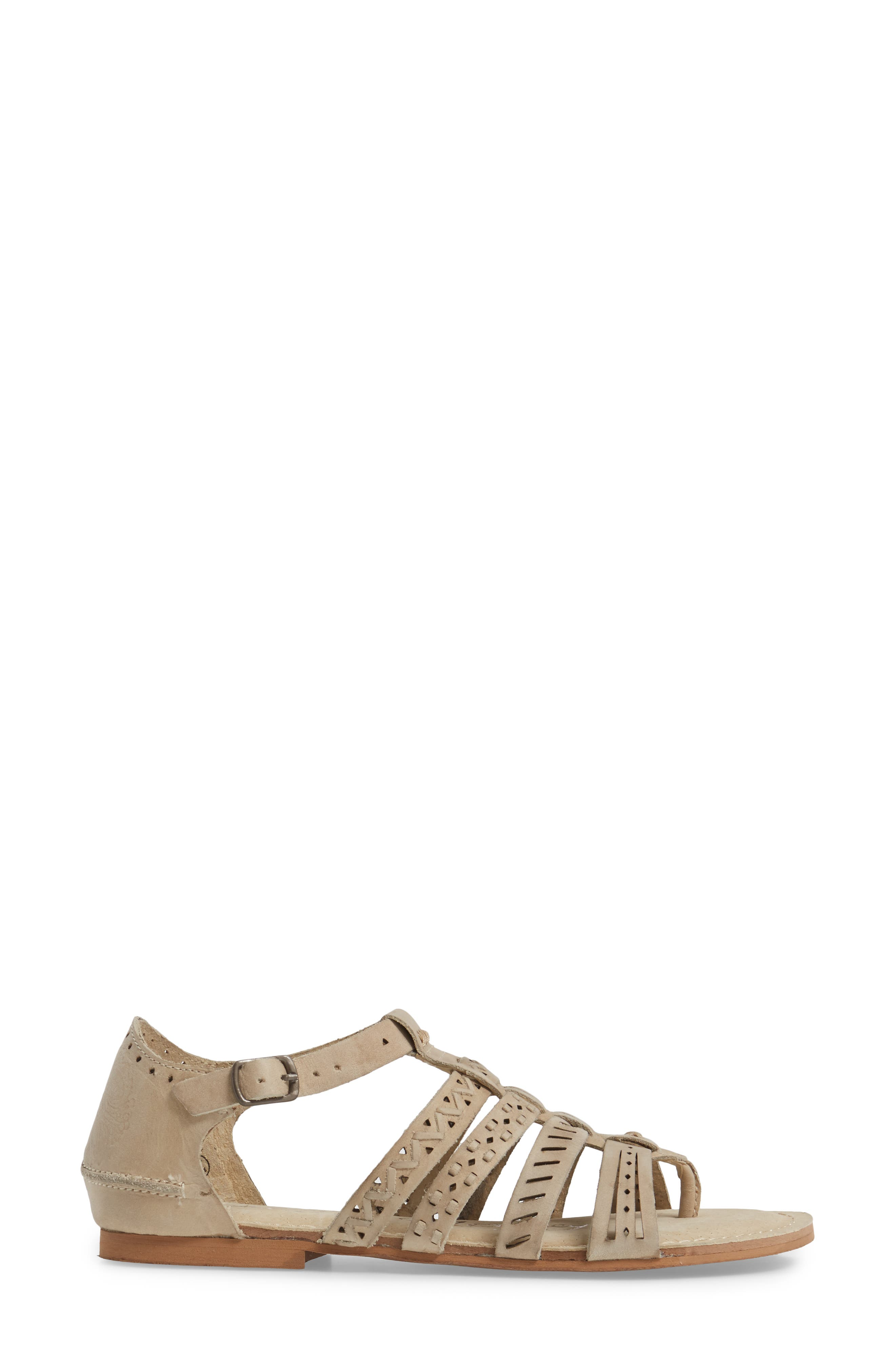 True Grit Perforated Sandal,                             Alternate thumbnail 3, color,                             Cream Leather