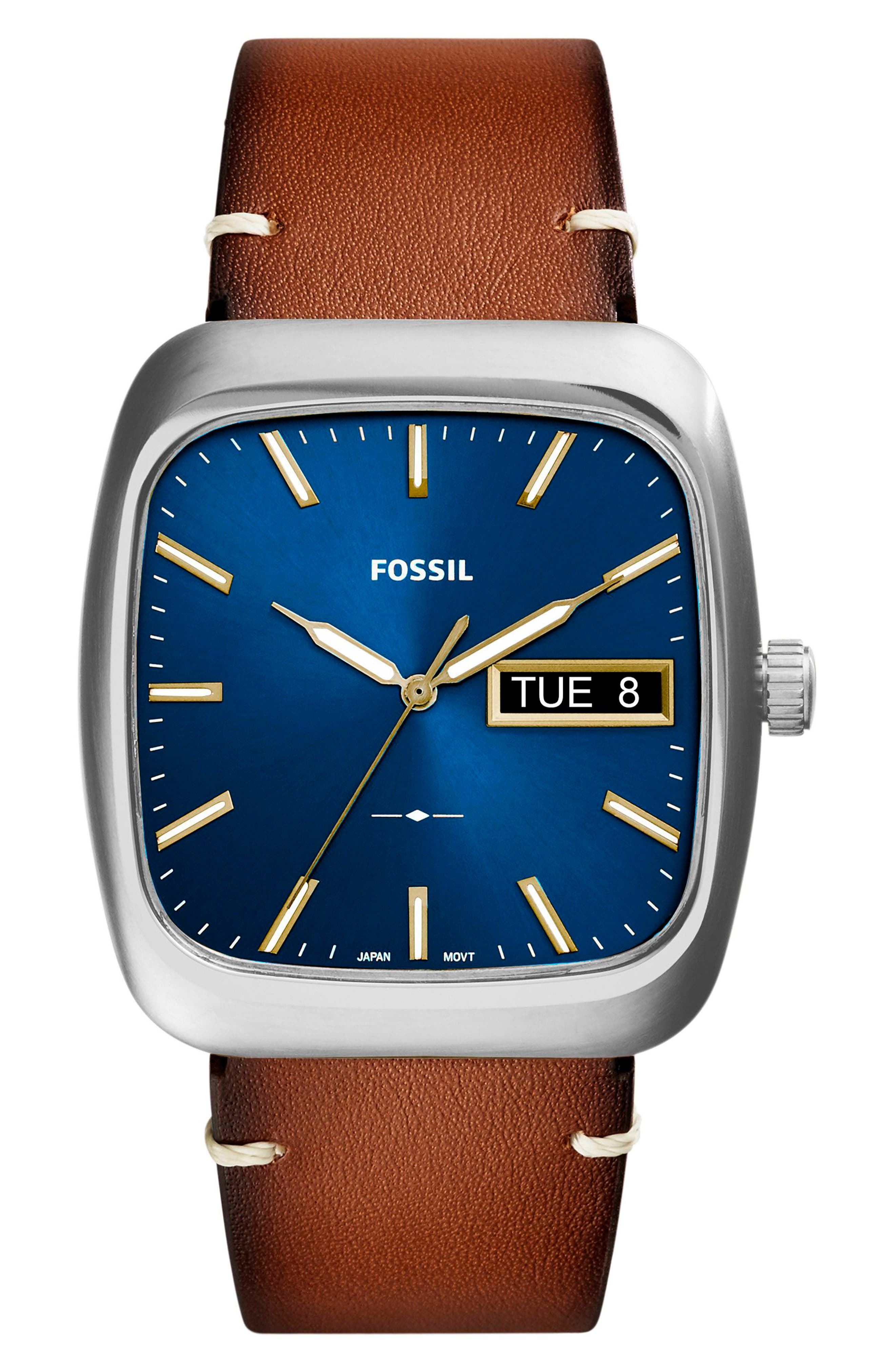 Rutherford Leather Strap Watch, 41mm,                             Main thumbnail 1, color,                             Brown/ Blue/ Silver