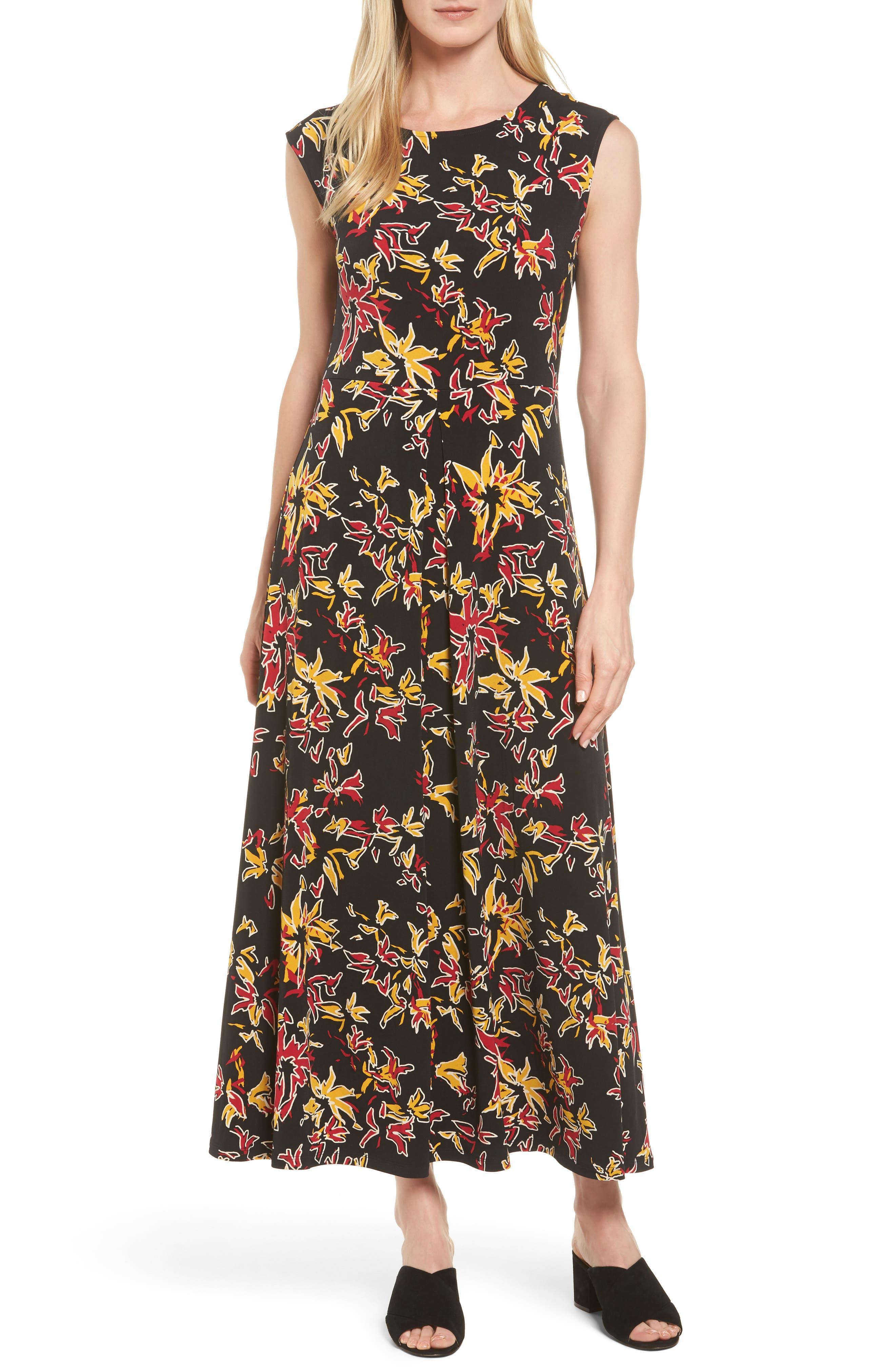 Main Image - Chaus Floral Sparks Jersey Maxi Dress