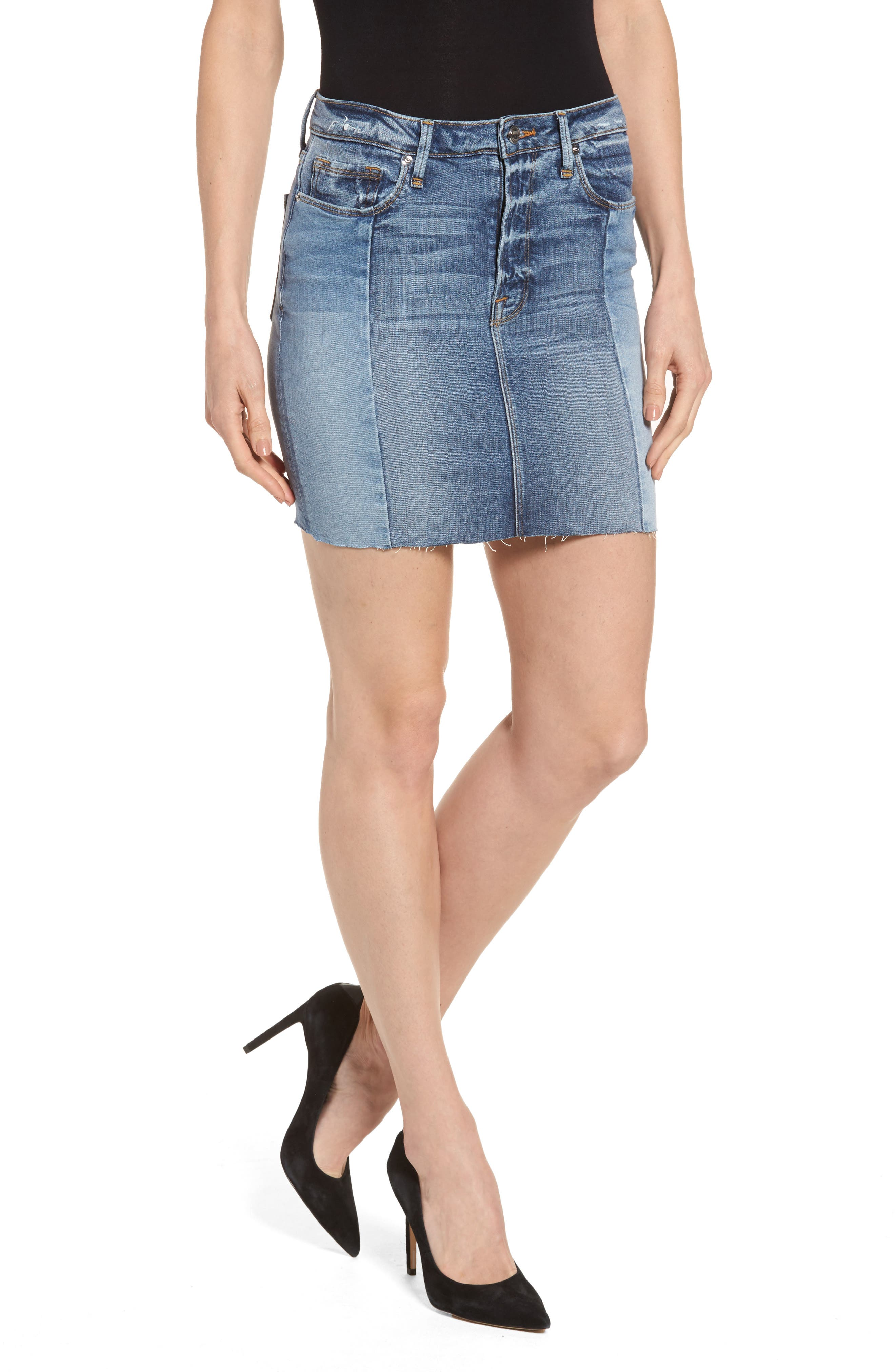 Good American Patchwork Miniskirt (Blue 079) (Extended Sizes)