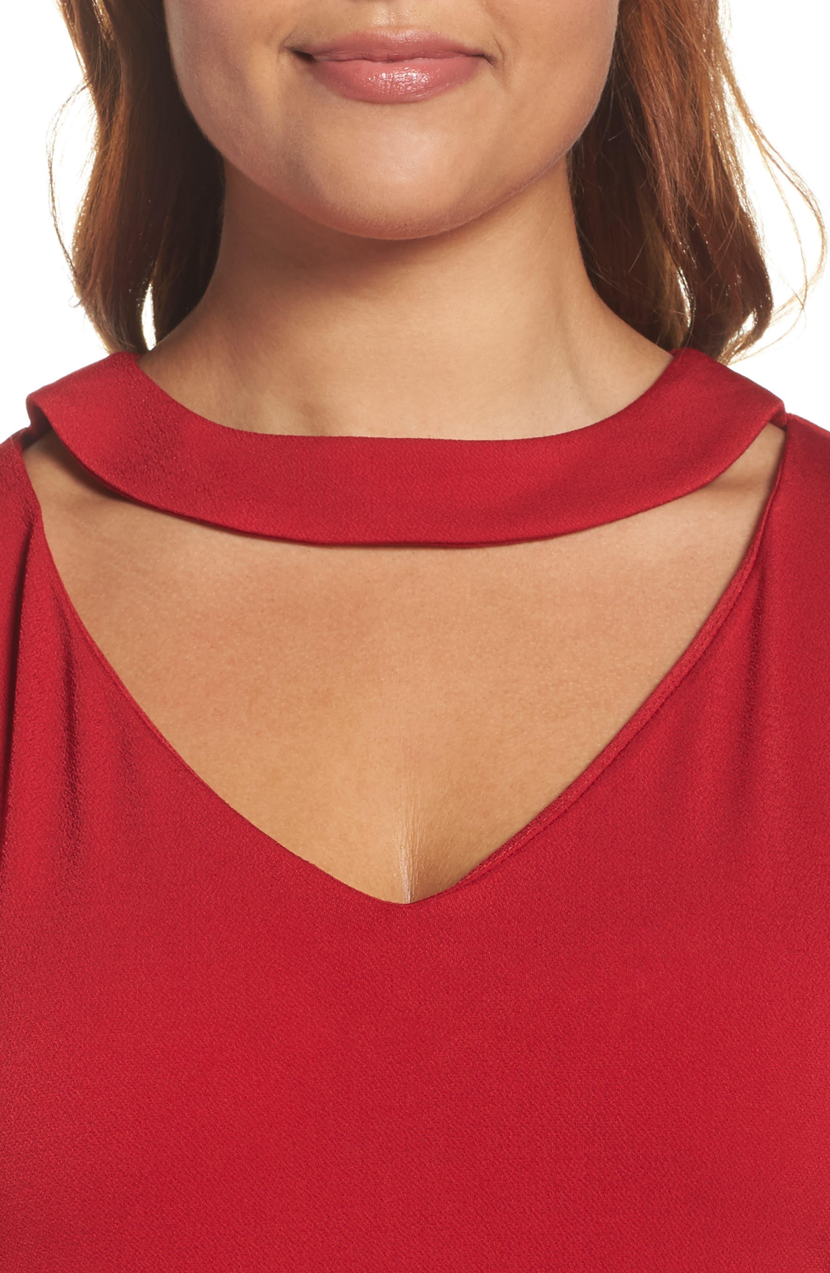 Alternate Image 4  - Gabby Skye Bell Sleeve A-Line Choker Dress (Plus Size)