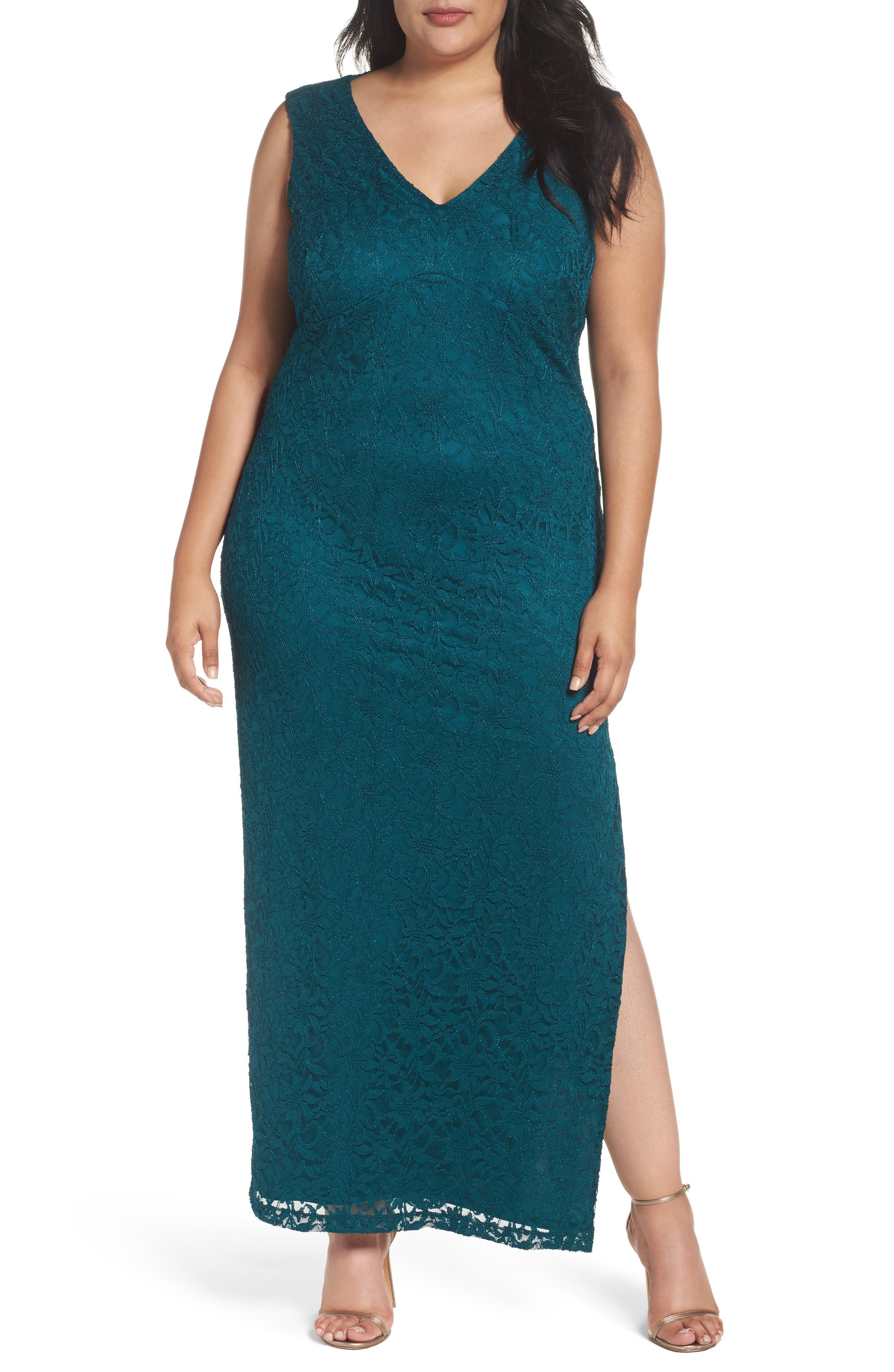 Main Image - Marina Lace Drape Back Gown (Plus Size)