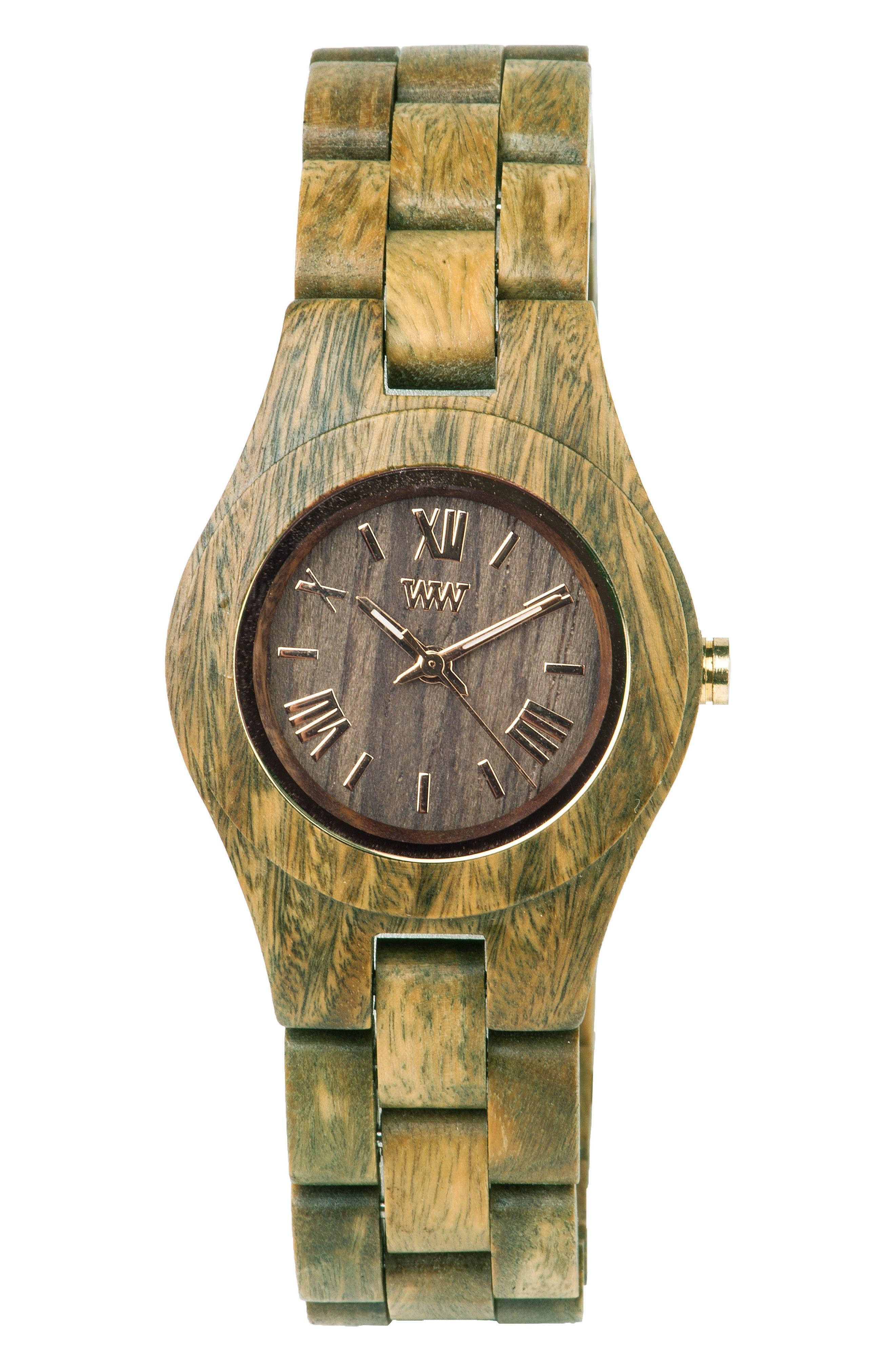 Criss Wood Bracelet Watch, 31mm,                         Main,                         color, Green