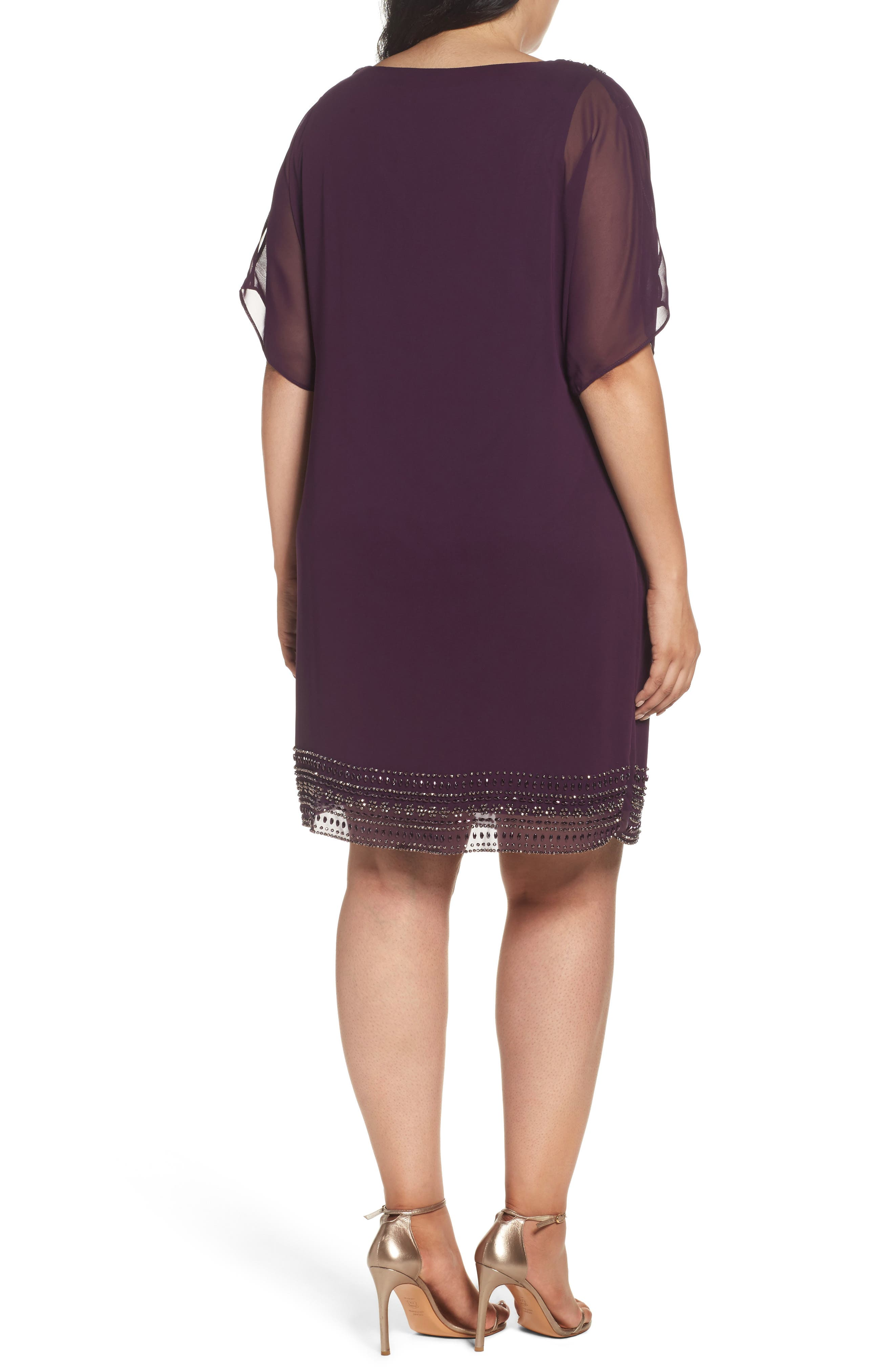 Alternate Image 2  - Xscape Embellished Split Sleeve Chiffon Shift Dress (Plus Size)