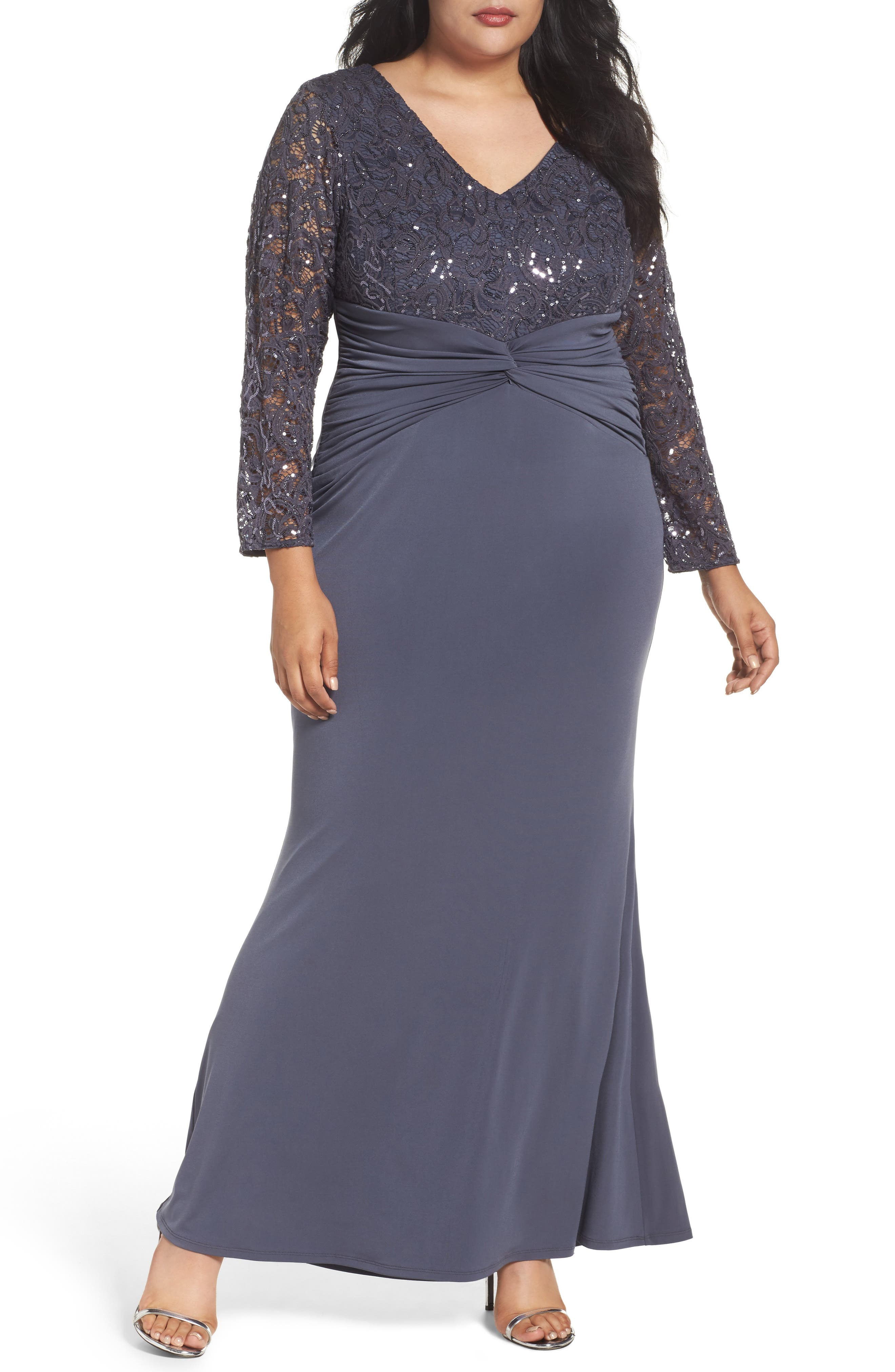 Sequin Lace & Jersey Mermaid Gown,                             Main thumbnail 1, color,                             Gunmetal