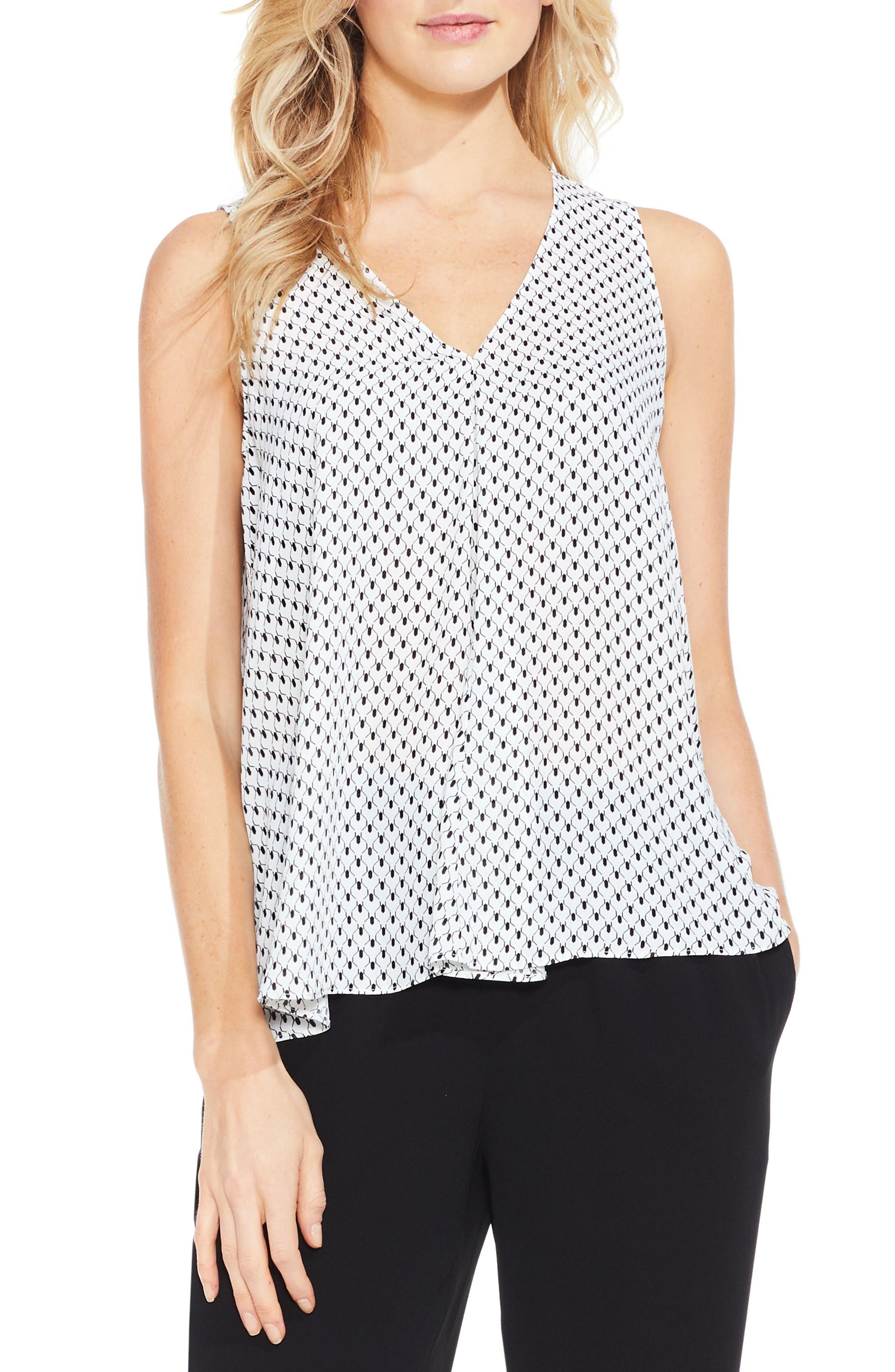 Vince Camuto Pleat Front Geo Print Blouse