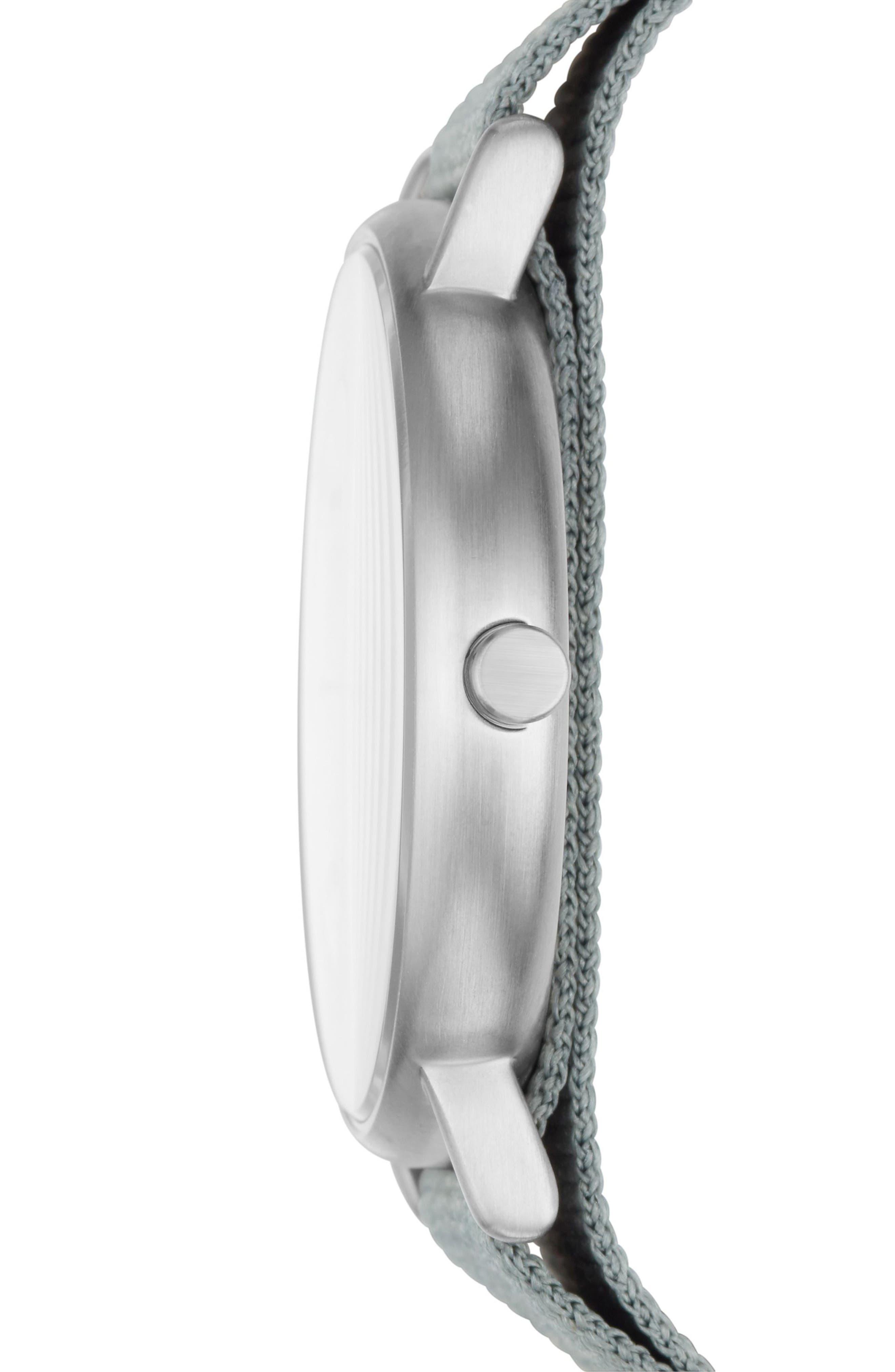 Signatur Nylon Strap Watch, 40mm,                             Alternate thumbnail 2, color,                             Green/ White/ Silver