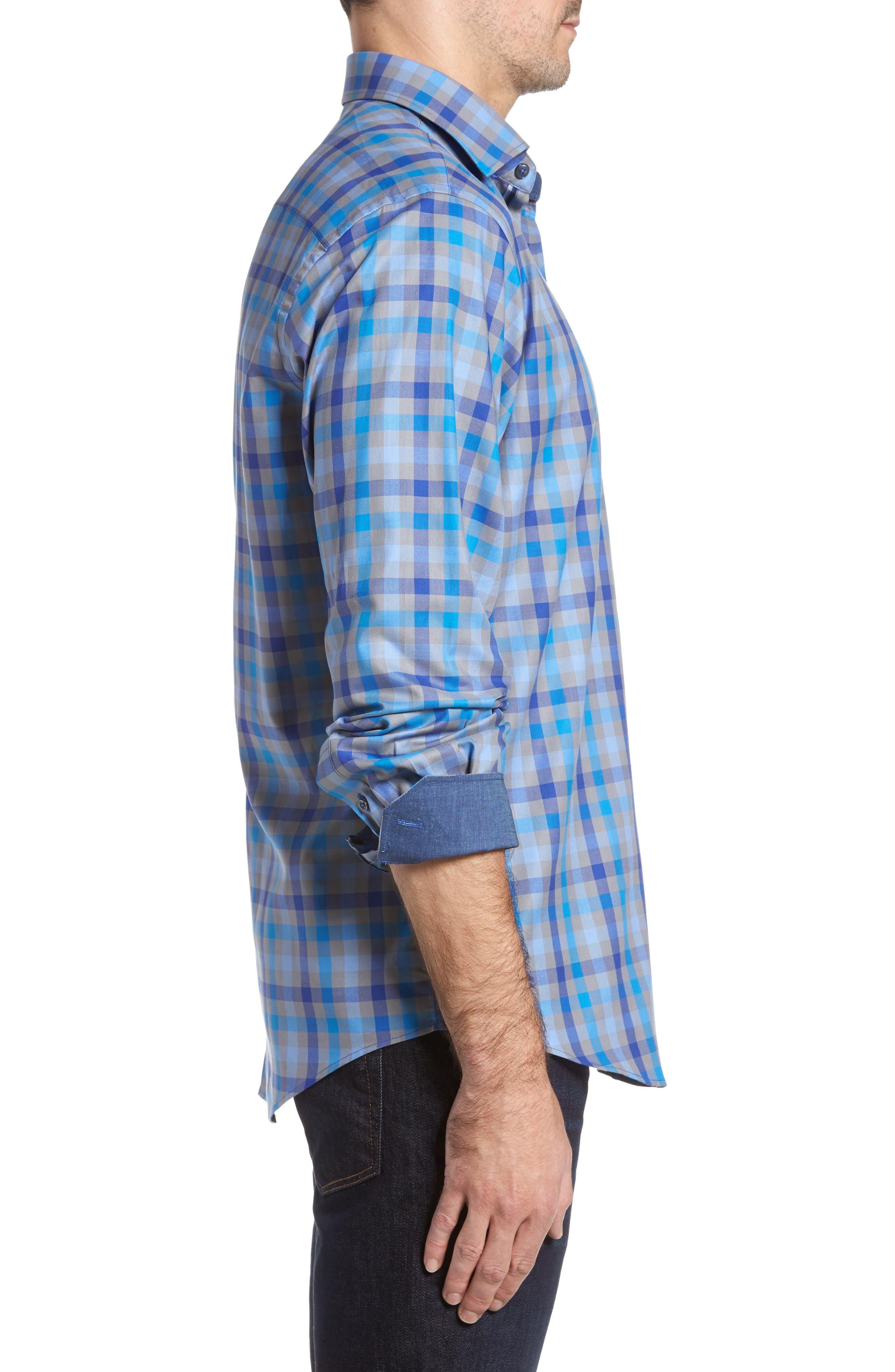 Classic Fit Check Sport Shirt,                             Alternate thumbnail 3, color,                             Platinum