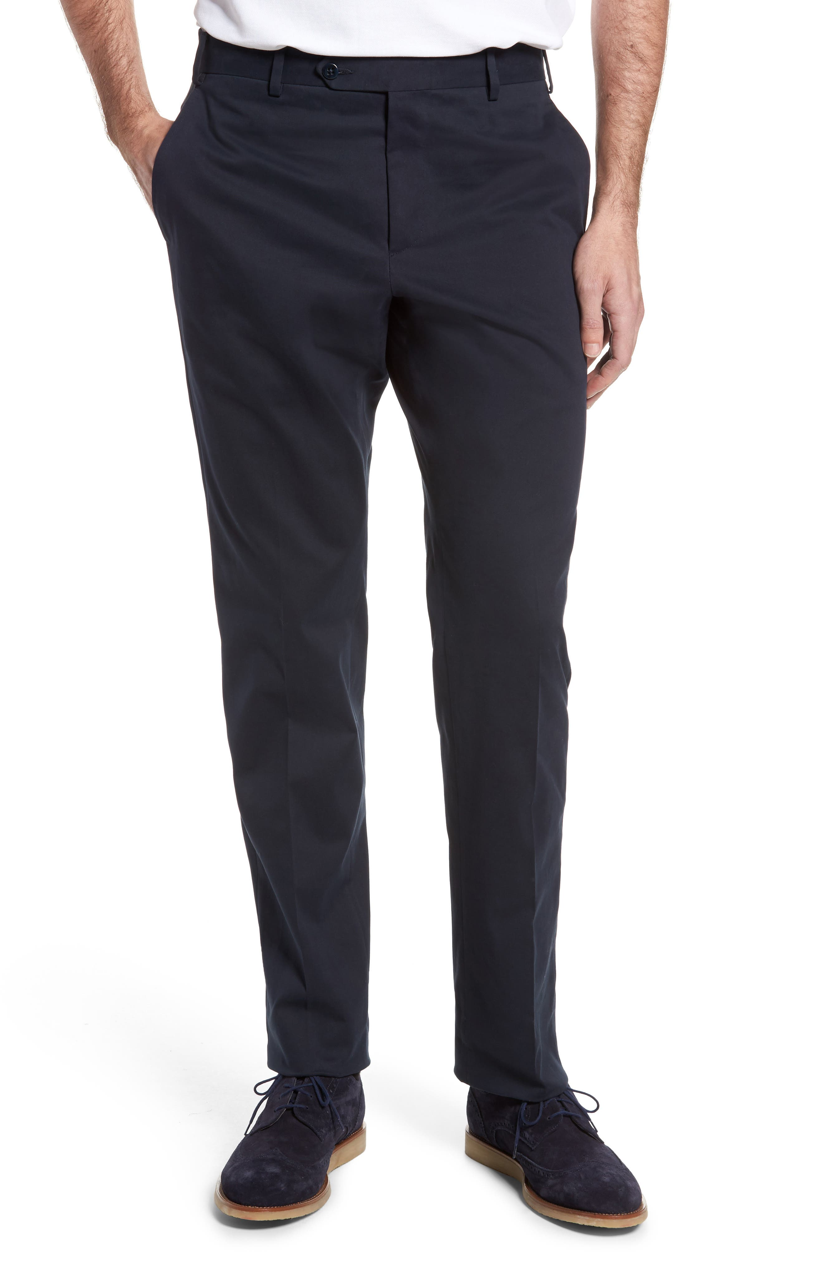 Parker Flat Front Solid Stretch Cotton Trousers,                         Main,                         color, Navy