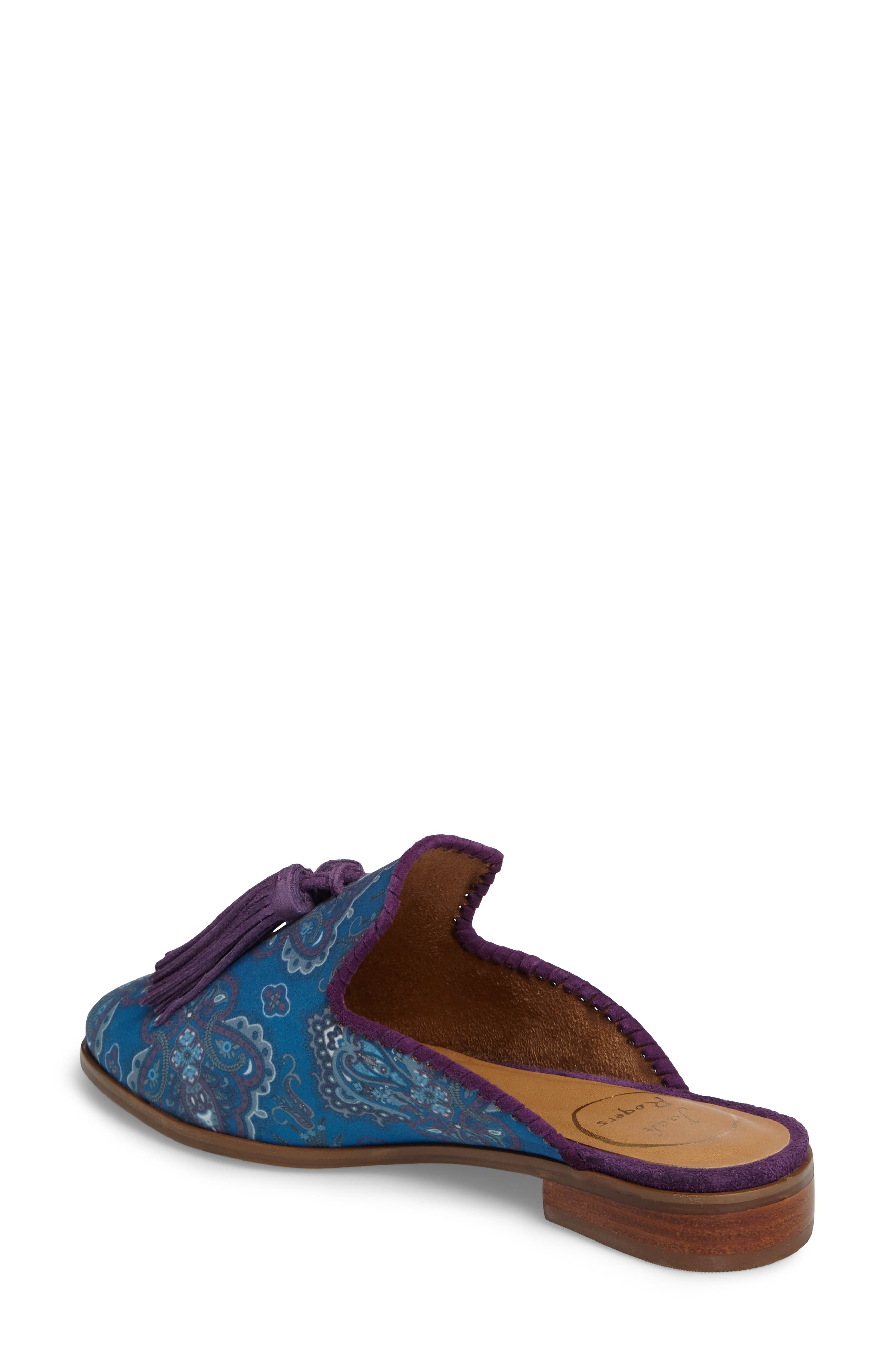 Delaney Tassel Mule,                             Alternate thumbnail 2, color,                             Blue Paisley Fabric