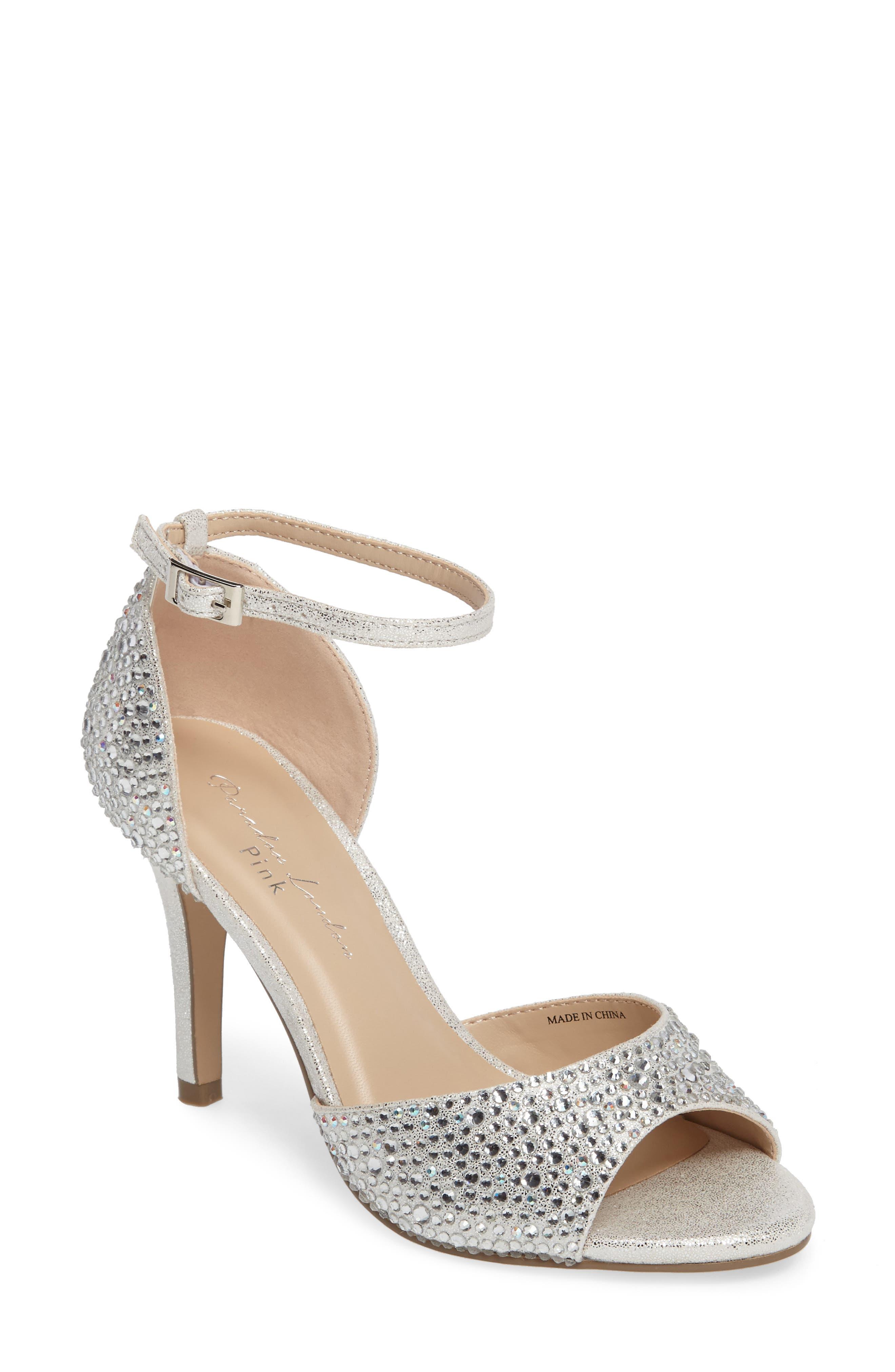 Mira Embellished Glitter Sandal,                         Main,                         color, Silver