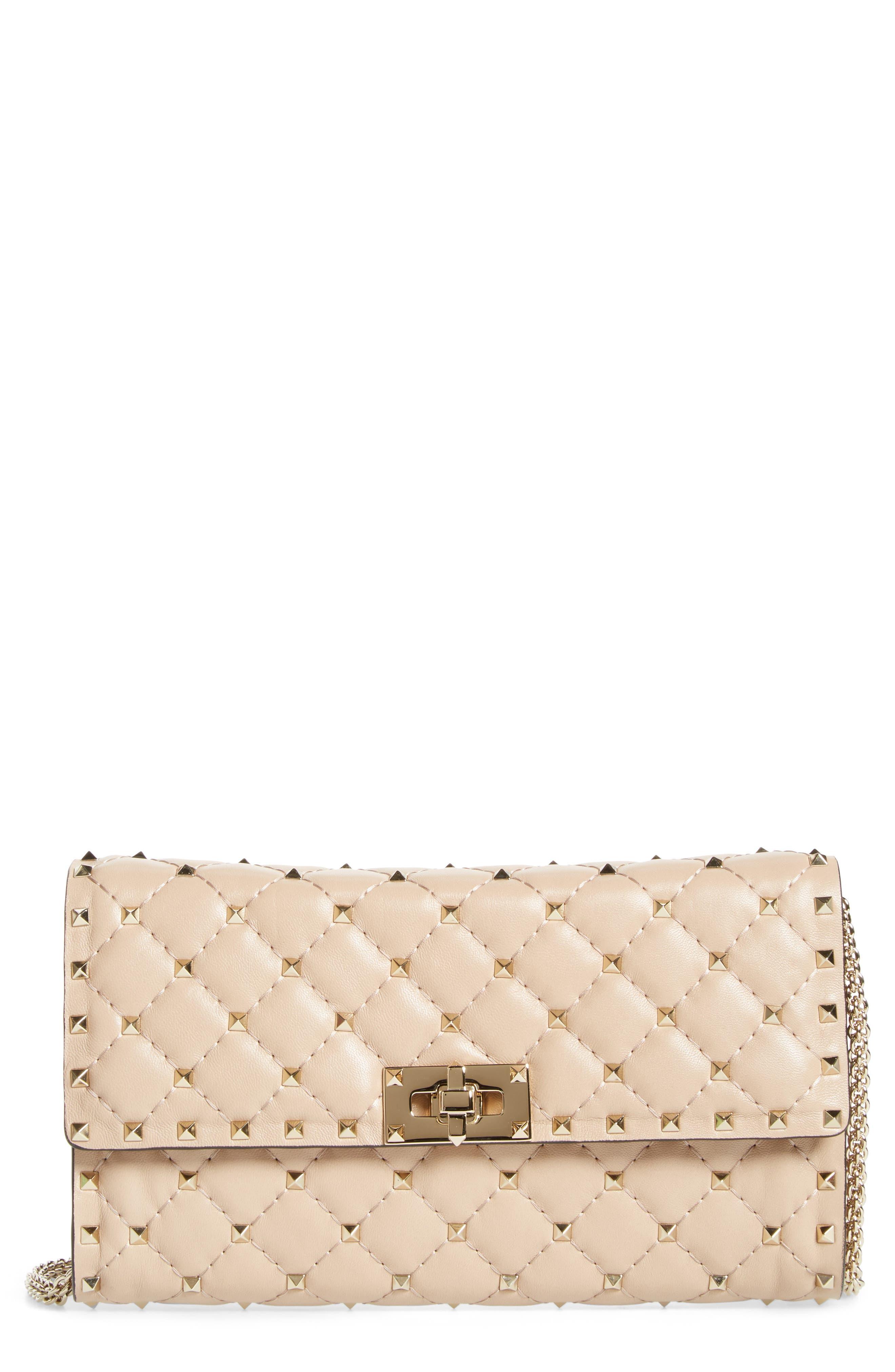 Metelassé Rockstud Spike Leather Wallet on a Chain,                         Main,                         color, Poudre