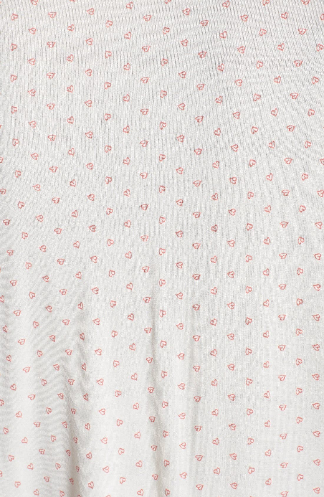 'Open Hearted' Jersey Shorts Pajamas,                             Alternate thumbnail 3, color,                             Ivory/ Vintage Rose