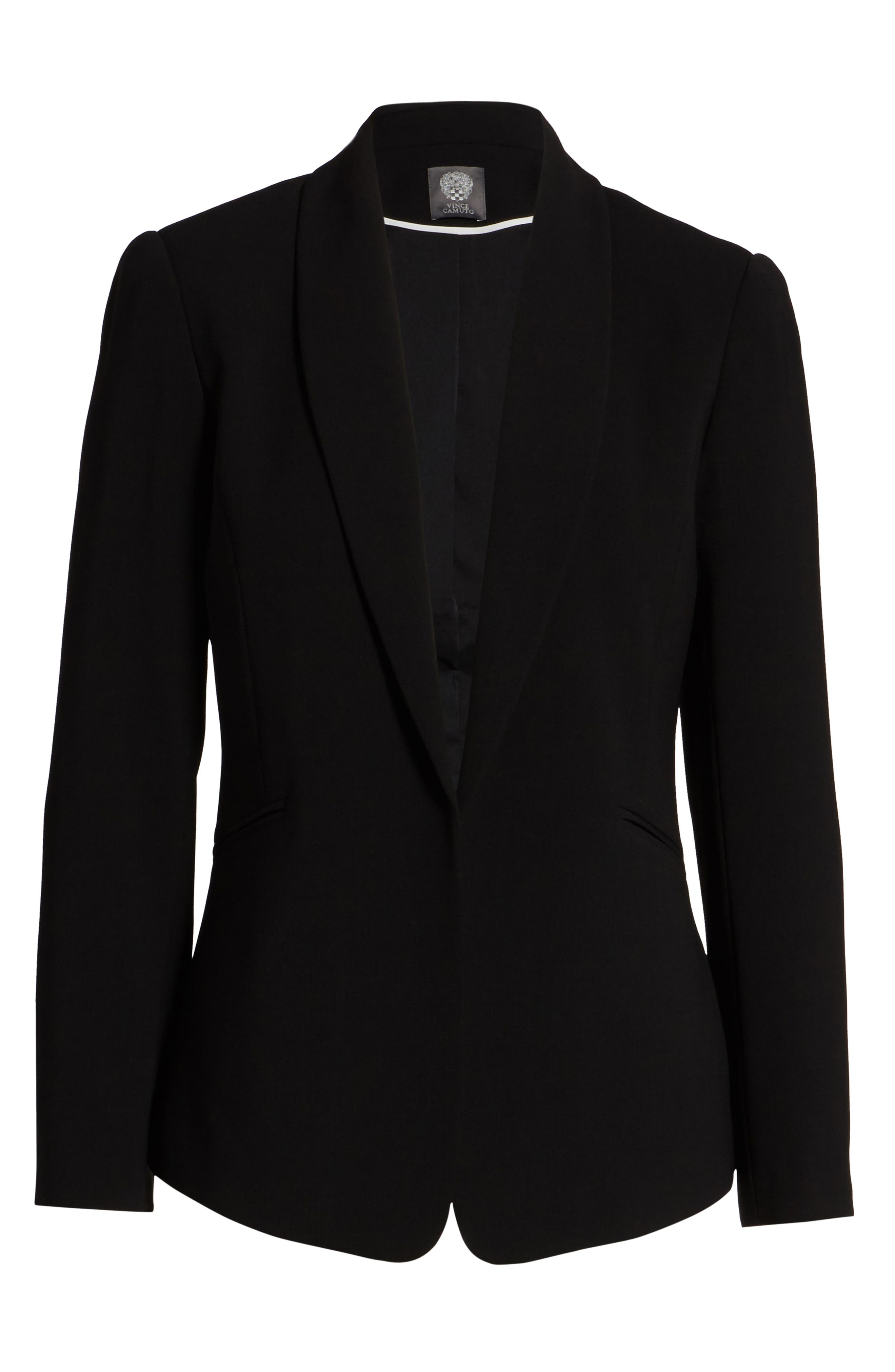 Texture Base Blazer,                             Alternate thumbnail 6, color,                             Rich Black