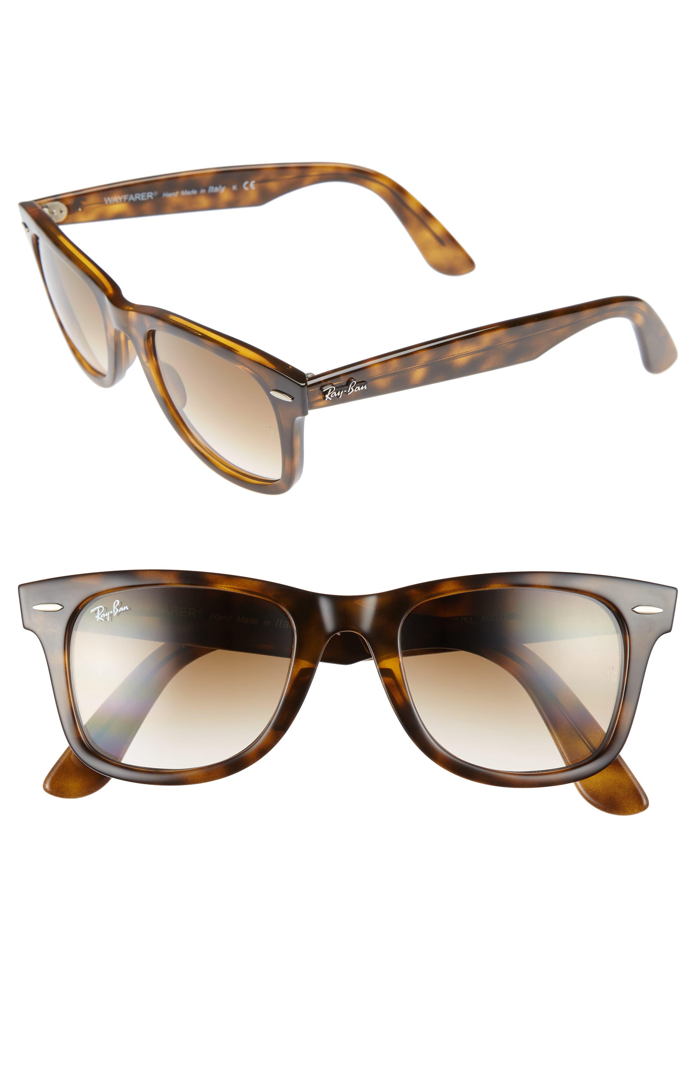 50mm Wayfarer Ease Gradient Sunglasses,                         Main,                         color, Light Havana