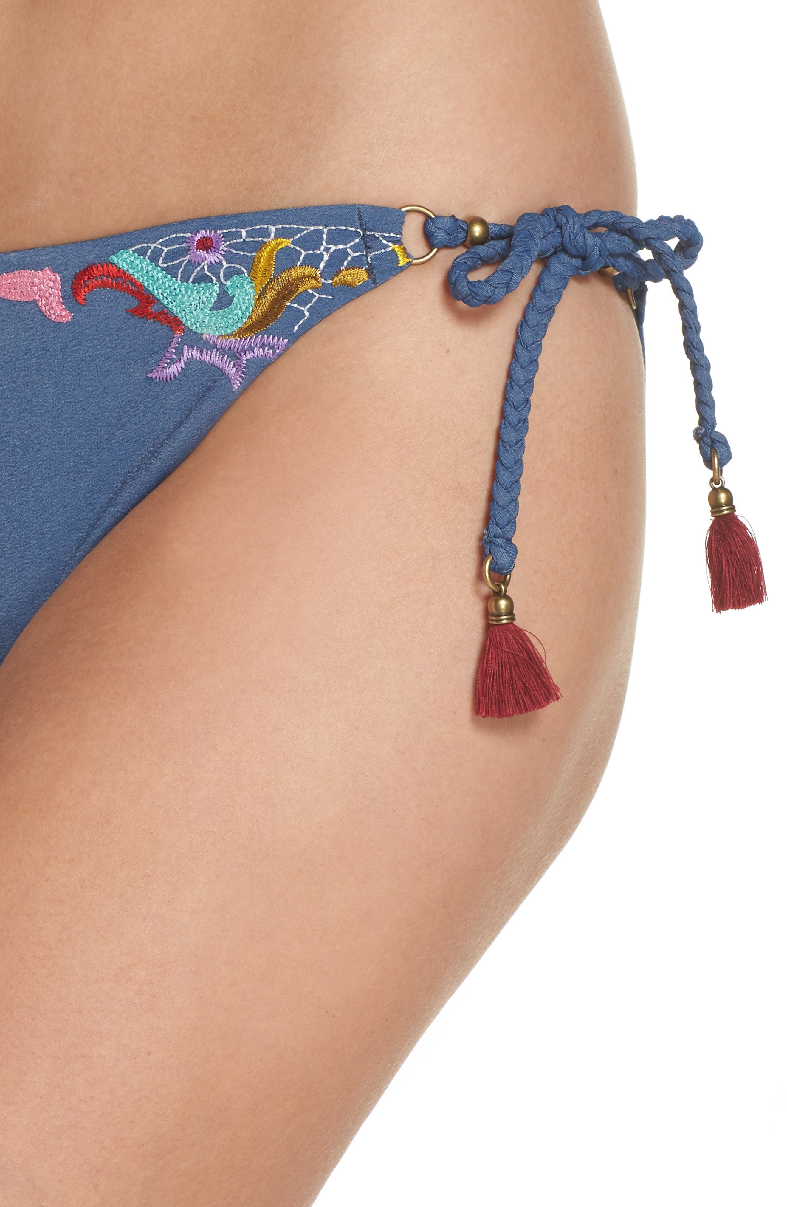 Dazed Denim Vamp Side Tie Bikini Bottoms,                             Alternate thumbnail 4, color,                             Blue Multi