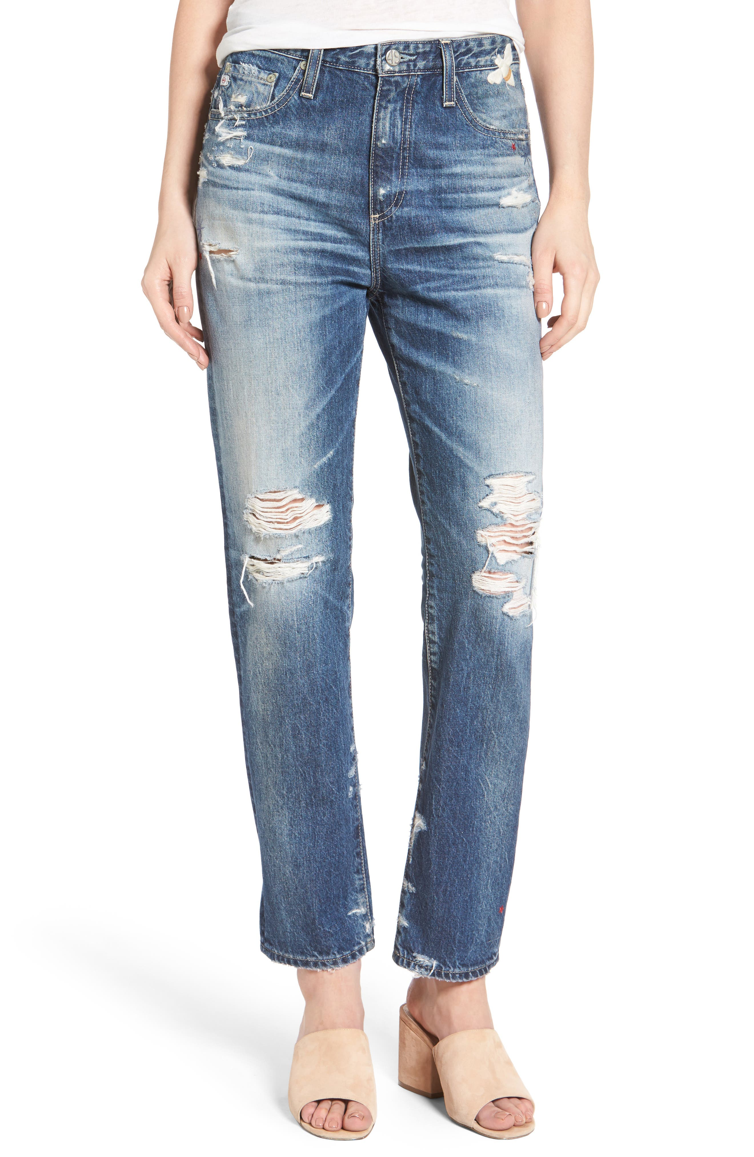 The Phoebe High Waist Straight Leg Jeans,                         Main,                         color, 23 Years Woven Dream