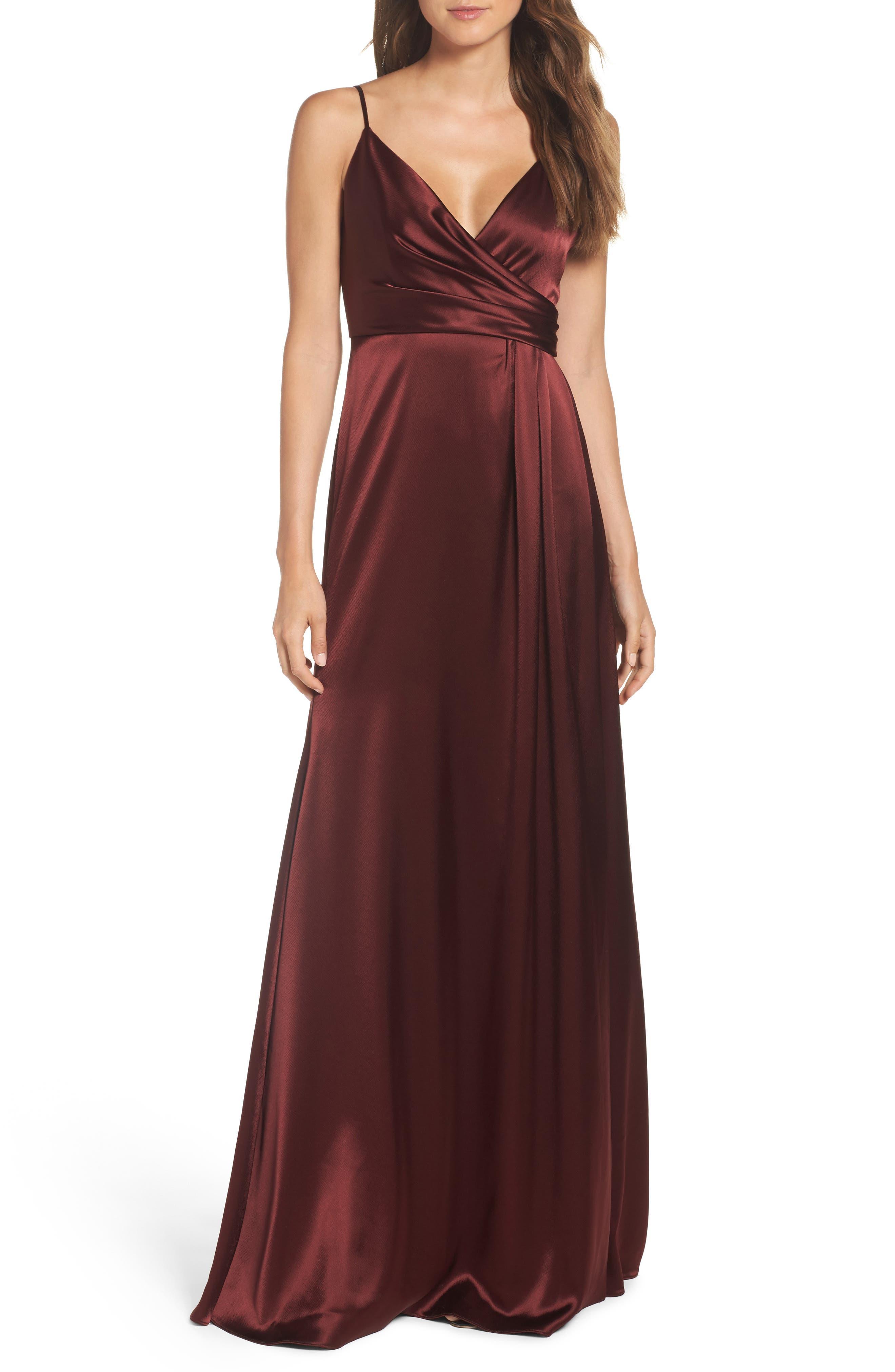 Jill Jill Stuart Faux Wrap Satin Gown