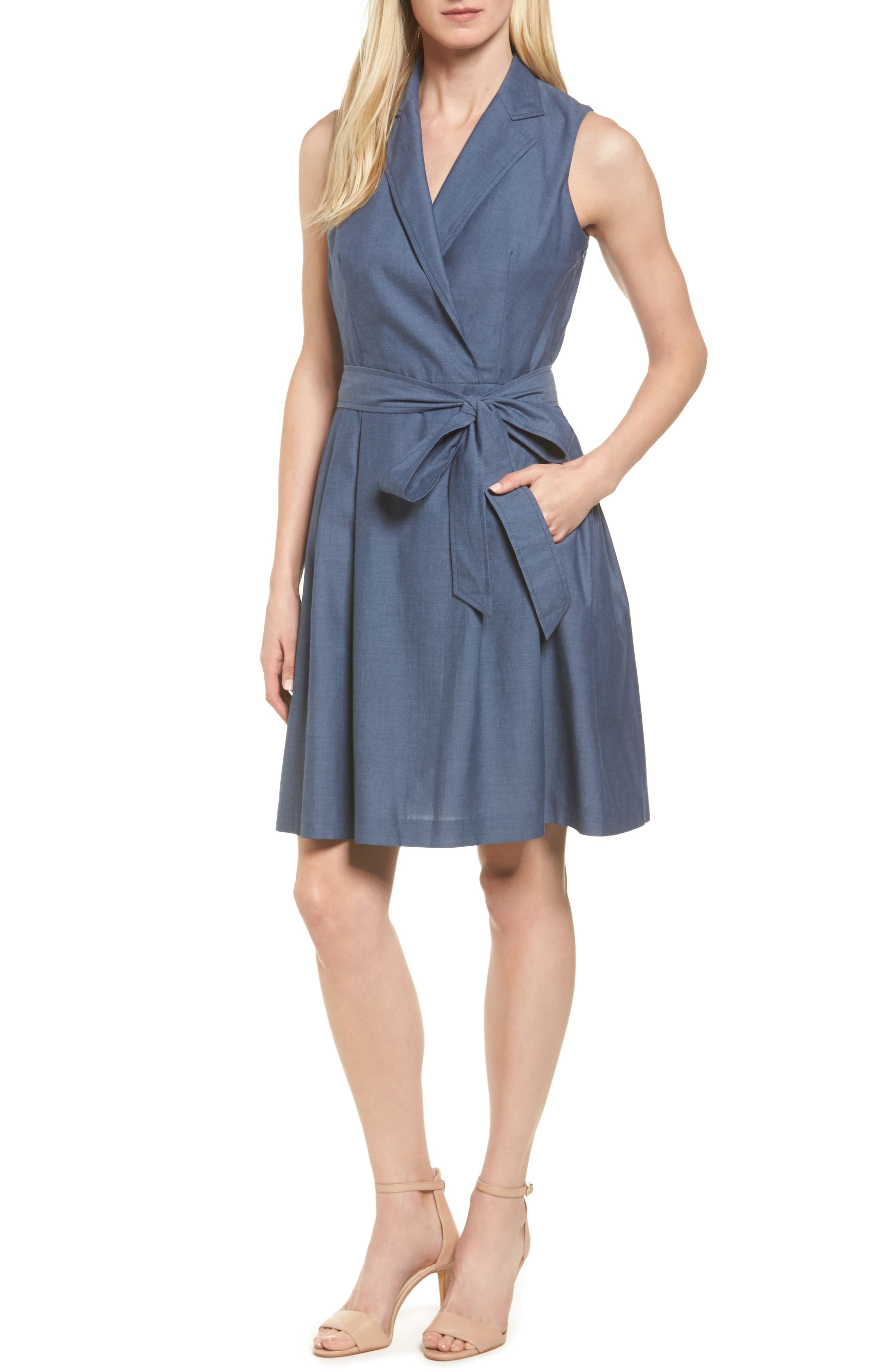Denim Faux Wrap Dress,                         Main,                         color, Indigo