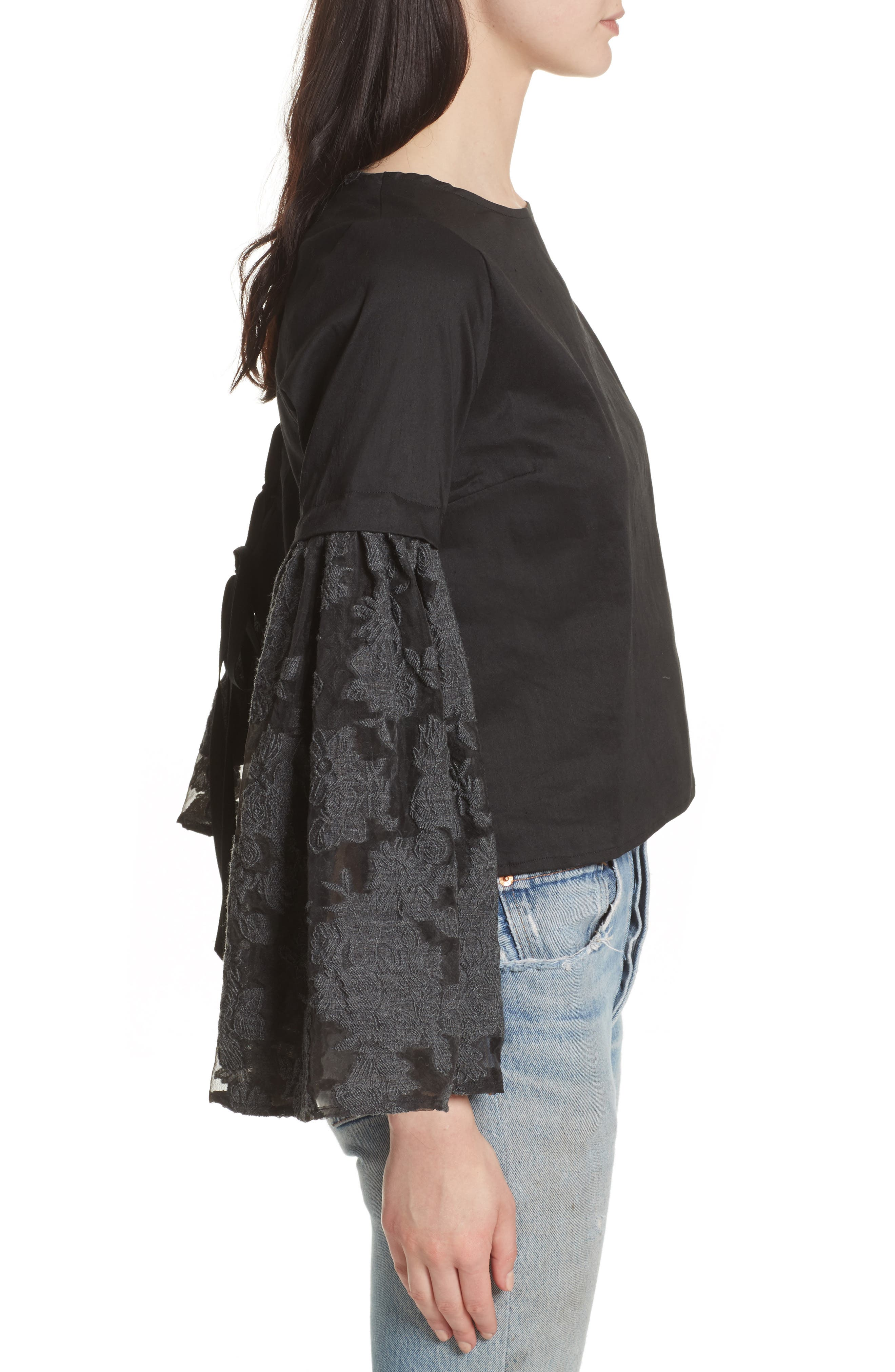 Alternate Image 3  - Sea Lace Lace-Up Back Bell Sleeve Blouse