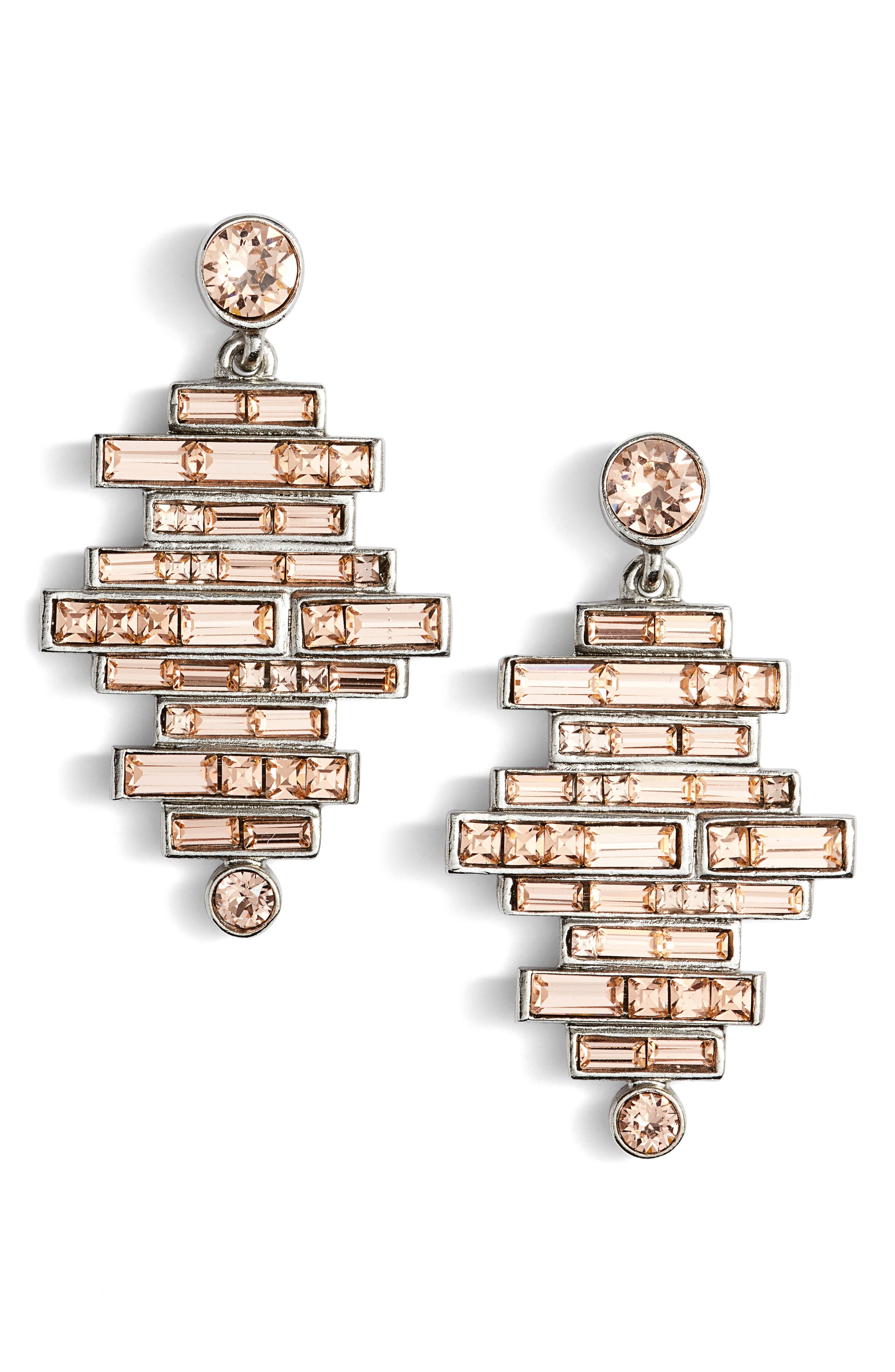 Alternate Image 1 Selected - Oscar de la Renta Stacked Baguette Drop Earrings