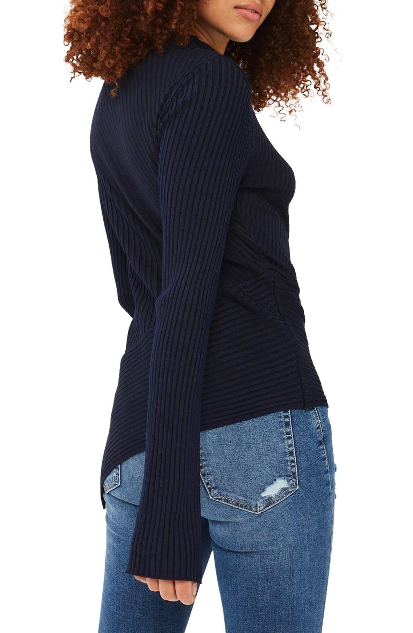 Alternate Image 4  - Topshop Asymmetrical Ribbed Sweater