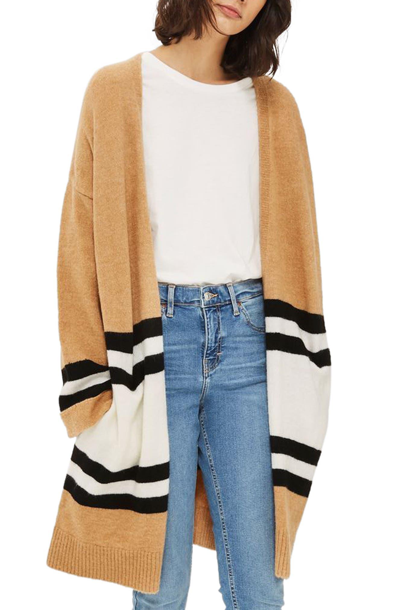 Stripe Colorblock Cardigan,                             Main thumbnail 1, color,                             Camel Multi