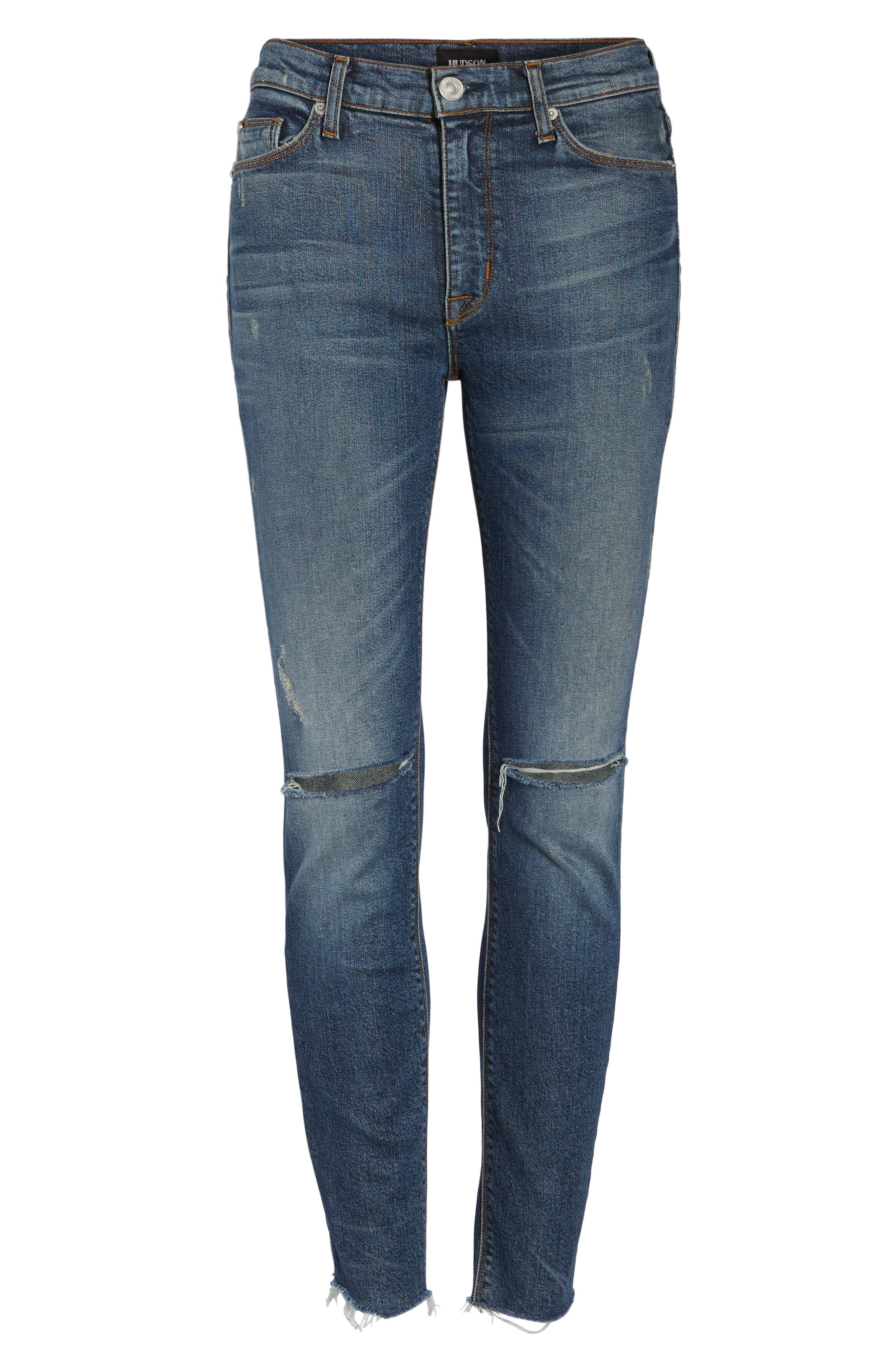 Barbara High Waist Skinny Jeans,                             Alternate thumbnail 6, color,                             Nowhere Girl
