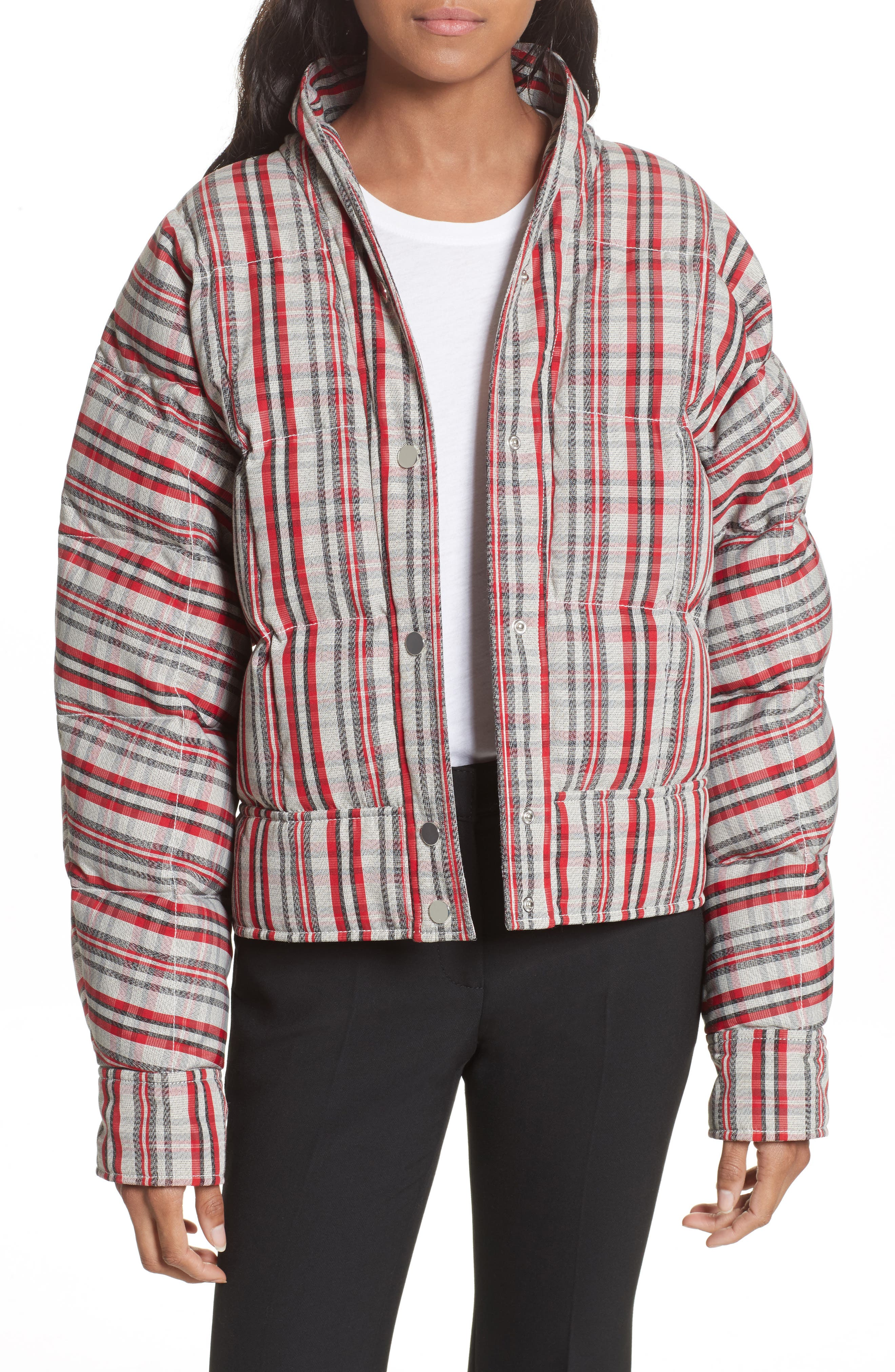 Plaid Snap Front Down Bomber,                         Main,                         color, White/ Bright Red/ Black