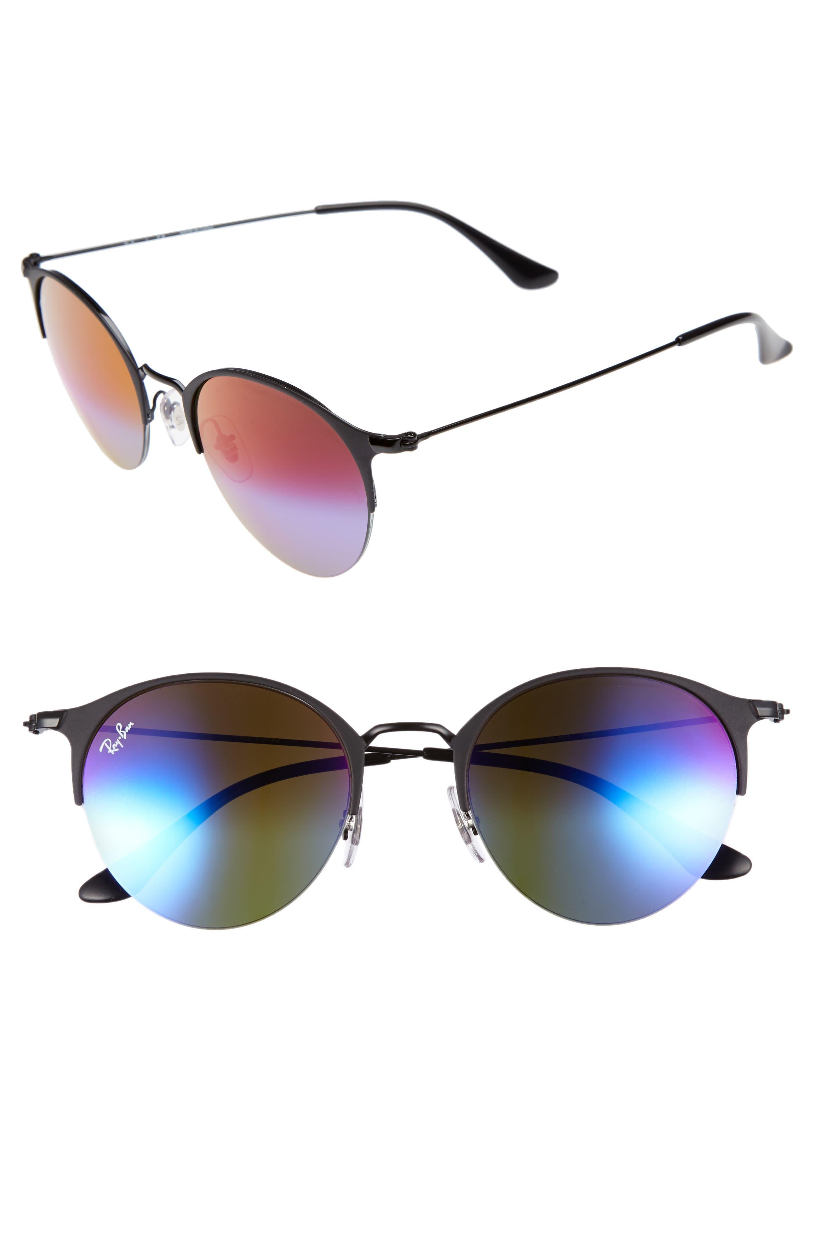 50mm Gradient Mirrored Sunglasses,                         Main,                         color, Matte Black