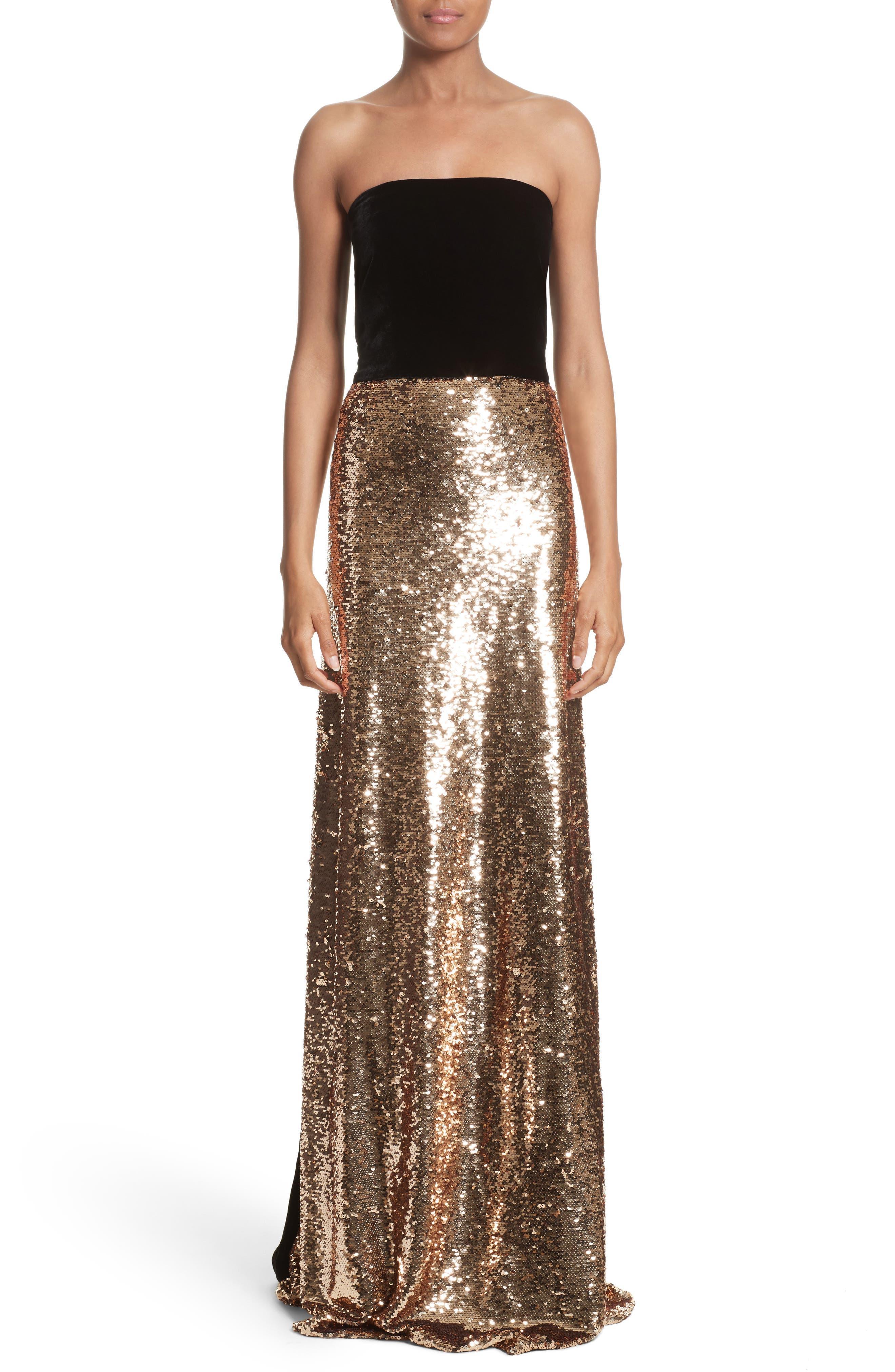 Strapless Velvet & Sequin Gown,                             Main thumbnail 1, color,                             Gold/ Noir