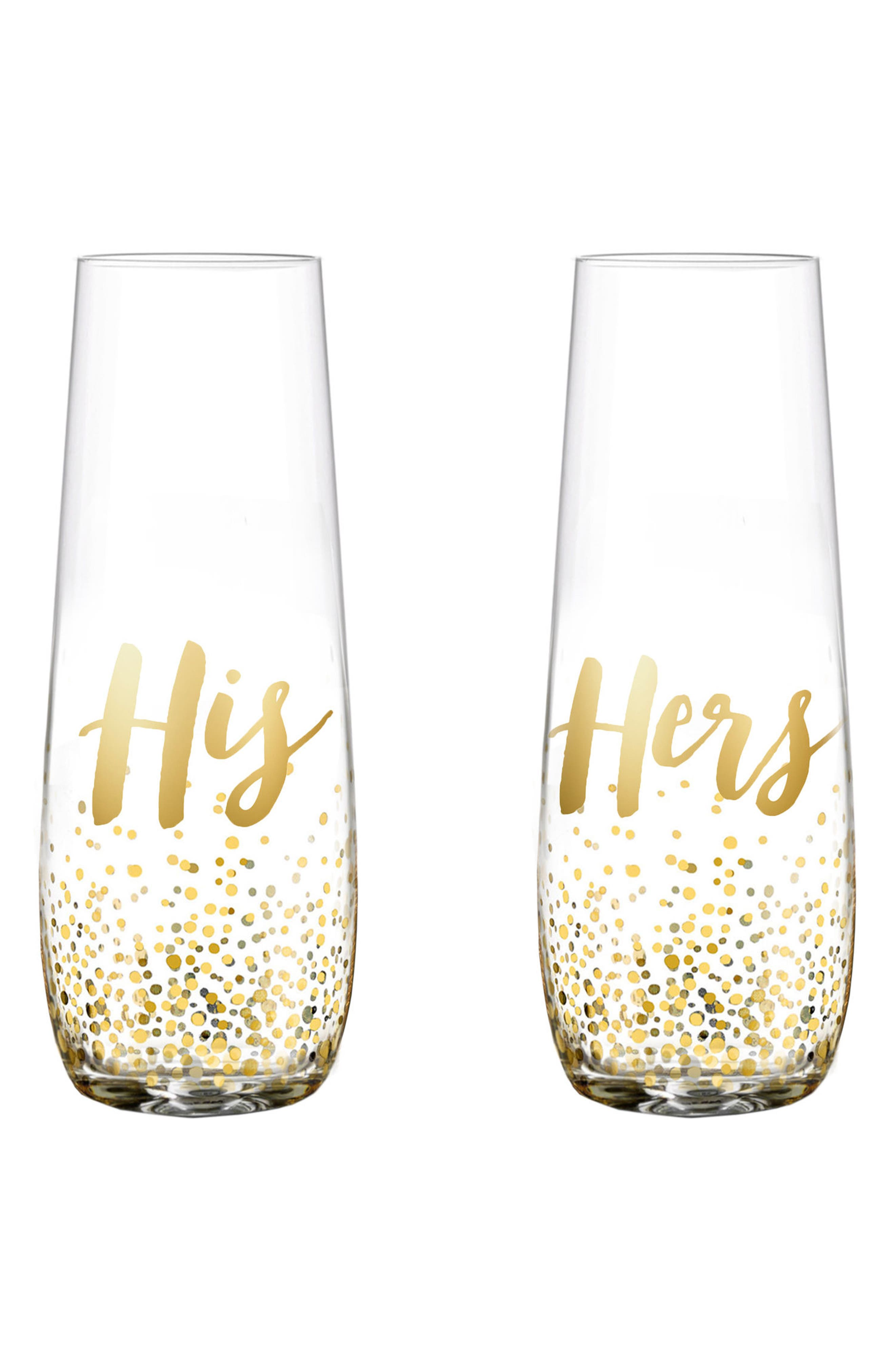 Gold Luster His & Hers Set of 2 Stemless Champagne Flutes,                         Main,                         color, Clear